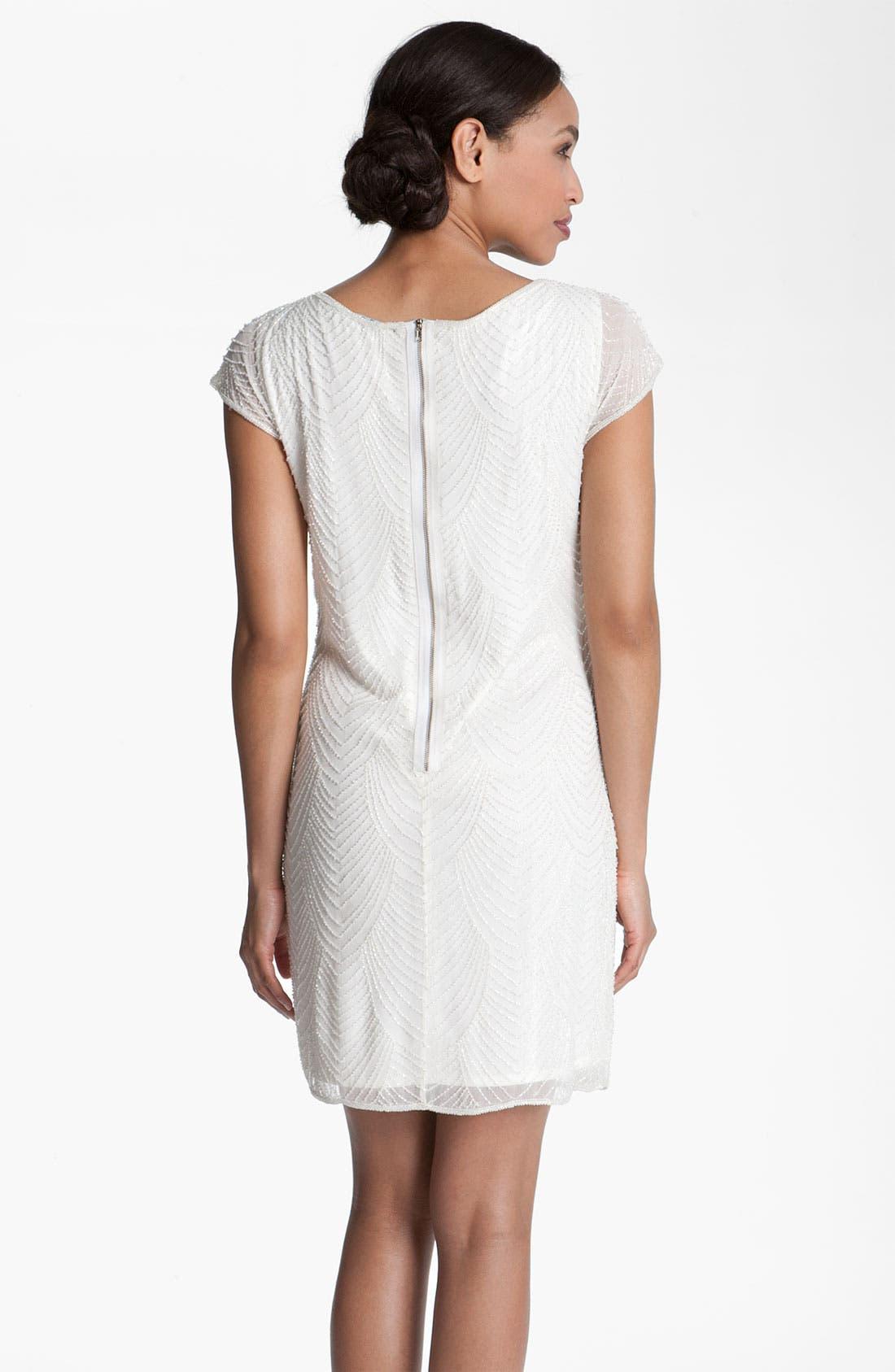 Alternate Image 2  - Pisarro Nights Beaded Overlay Silk Chiffon Dress (Petite)