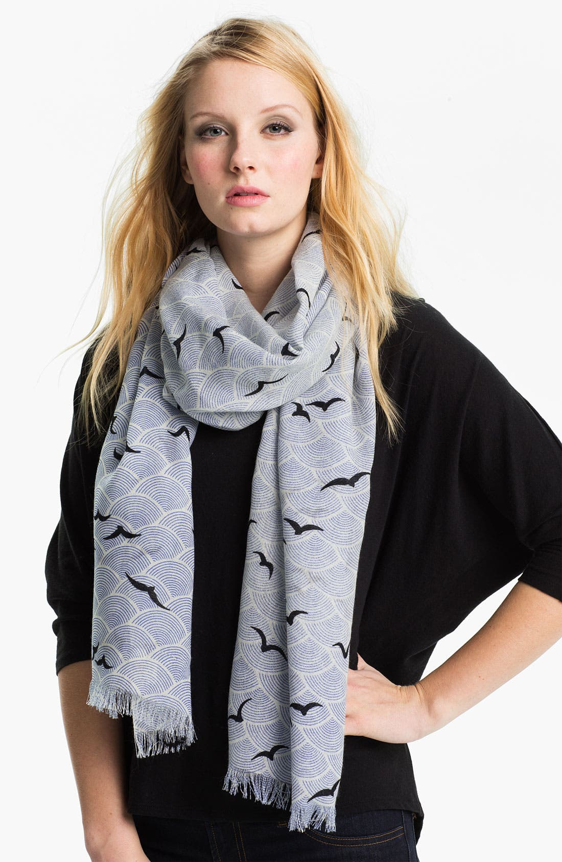 Main Image - kate spade new york 'birds over arches' wool scarf