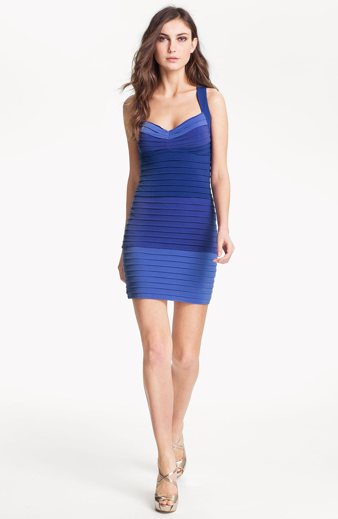 Main Image - Max & Cleo Pleated Colorblock Jersey Sheath Dress
