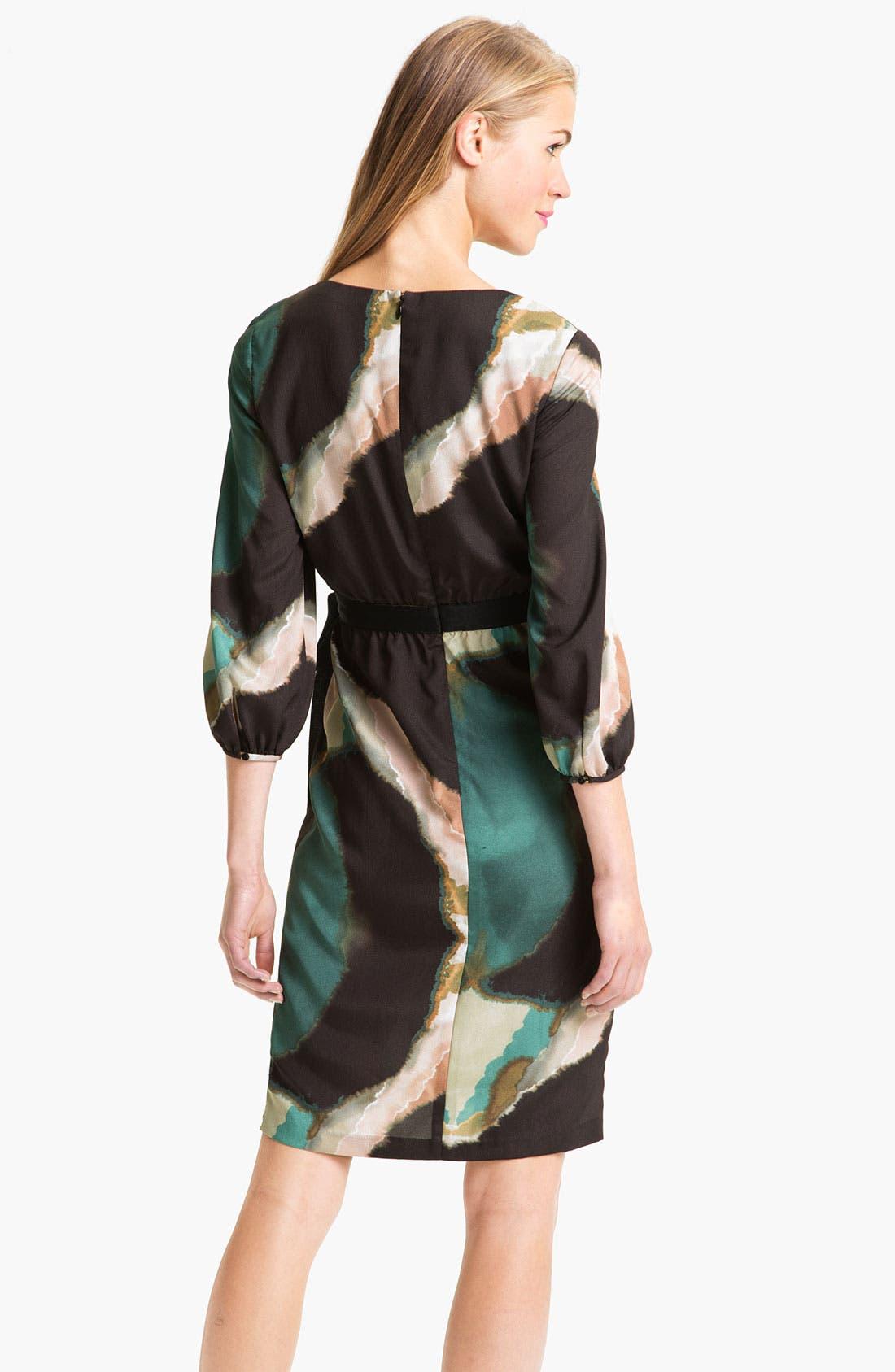 Alternate Image 2  - Maggy London Pleat Front Crêpe de Chine Faux Wrap Dress (Petite)