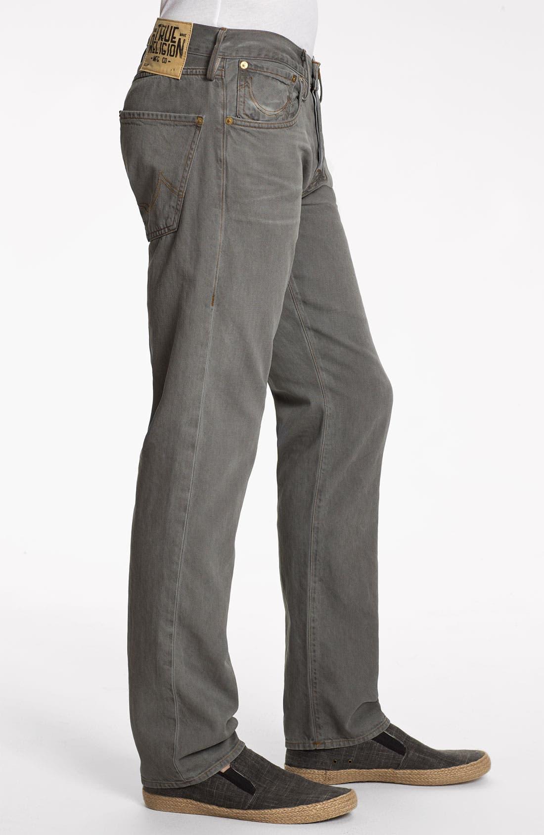 Alternate Image 3  - True Religion Brand Jeans 'Geno Blue Collar Crossroads' Slim Straight Leg Jeans (Smoke Stack)