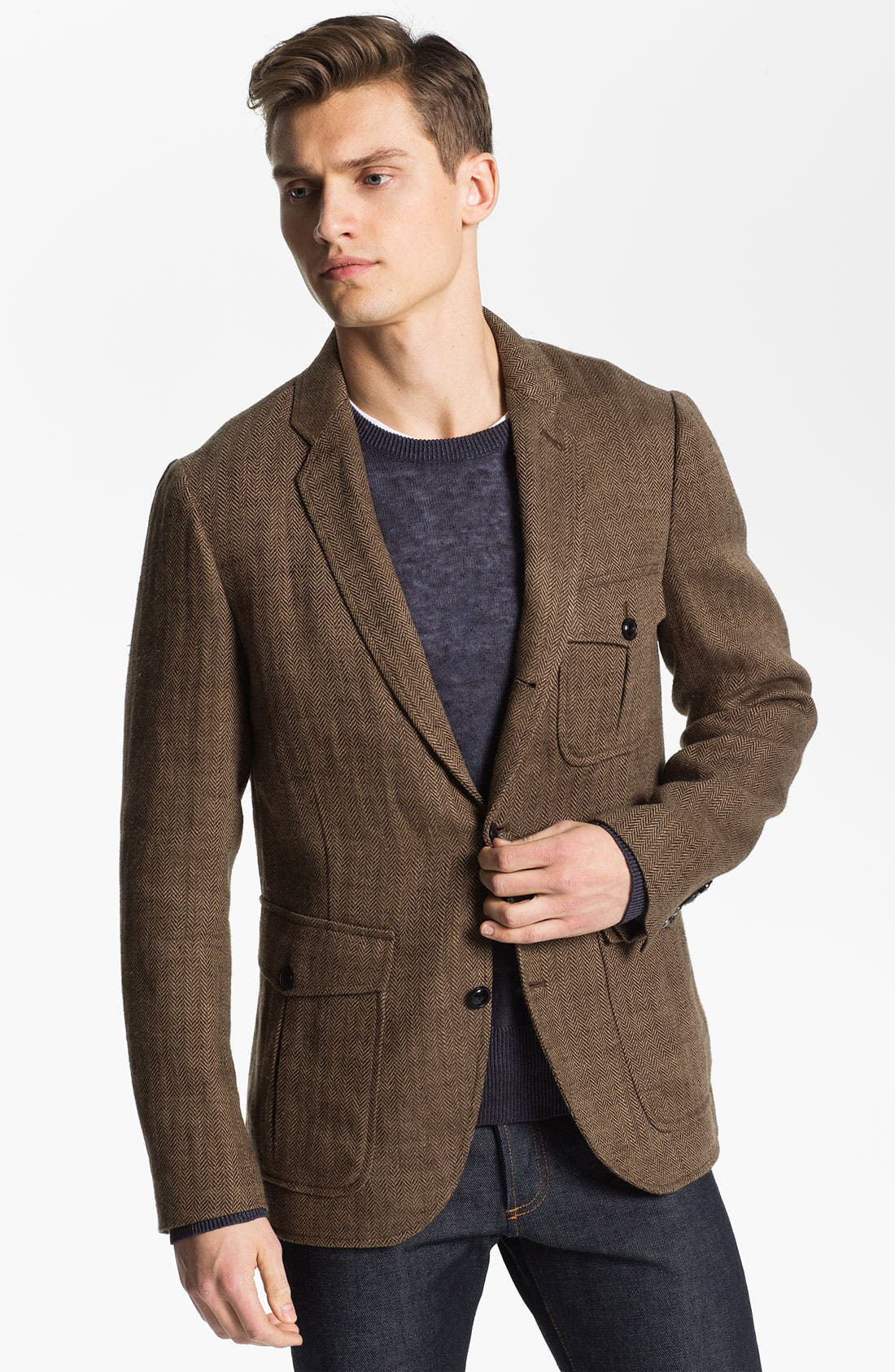 Main Image - Todd Snyder Three Button Linen Herringbone Sportcoat