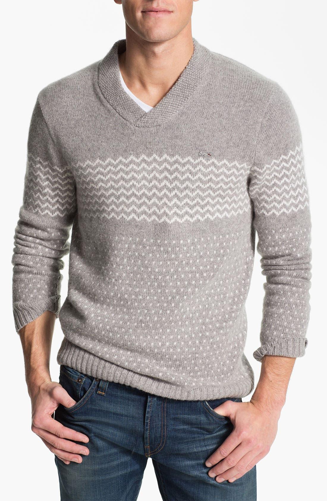 Main Image - Lacoste Shawl Collar Angora Blend Sweater