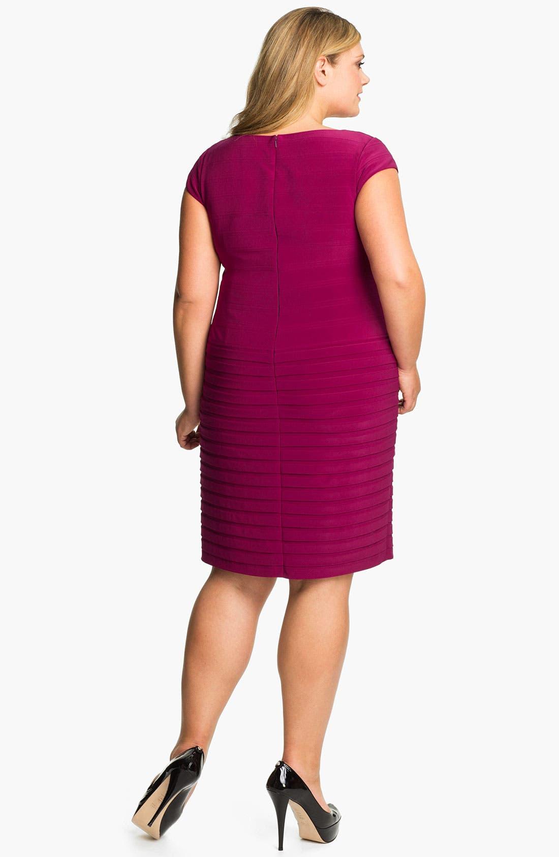 Alternate Image 2  - Adrianna Papell Basket Weave Shutter Pleat Sheath Dress (Plus Size)
