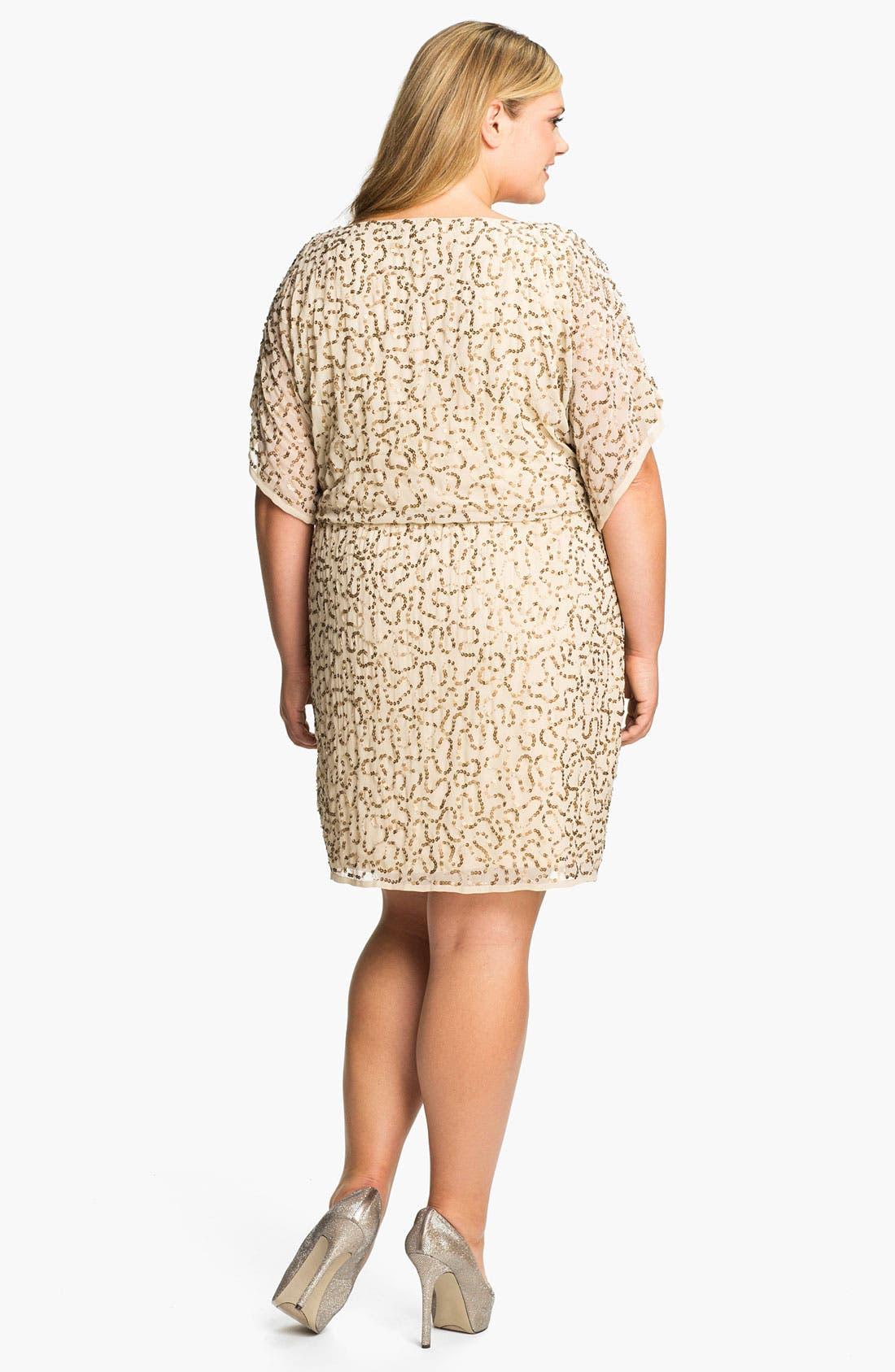Alternate Image 2  - Adrianna Papell Sequined Chiffon Blouson Dress (Plus)