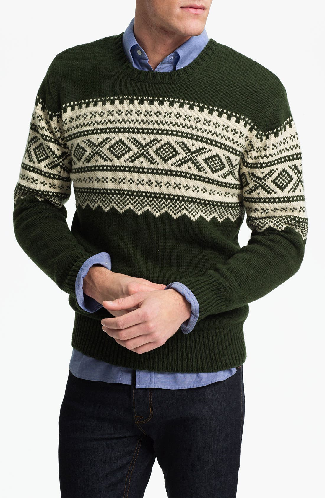 Alternate Image 1 Selected - Gant Rugger Jacquard Crewneck Sweater
