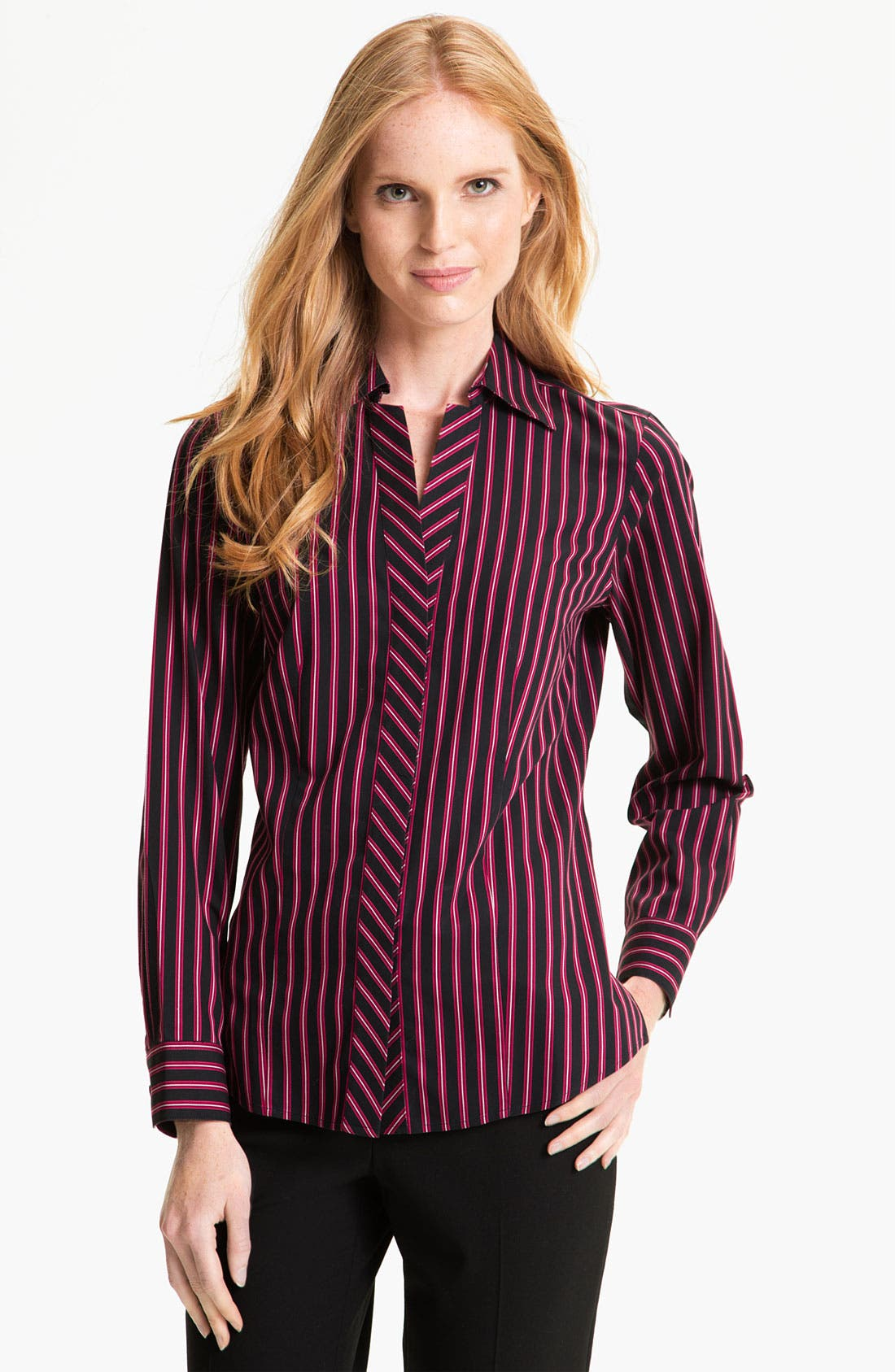 Alternate Image 1 Selected - Foxcroft Satin Stripe Shirt (Petite)