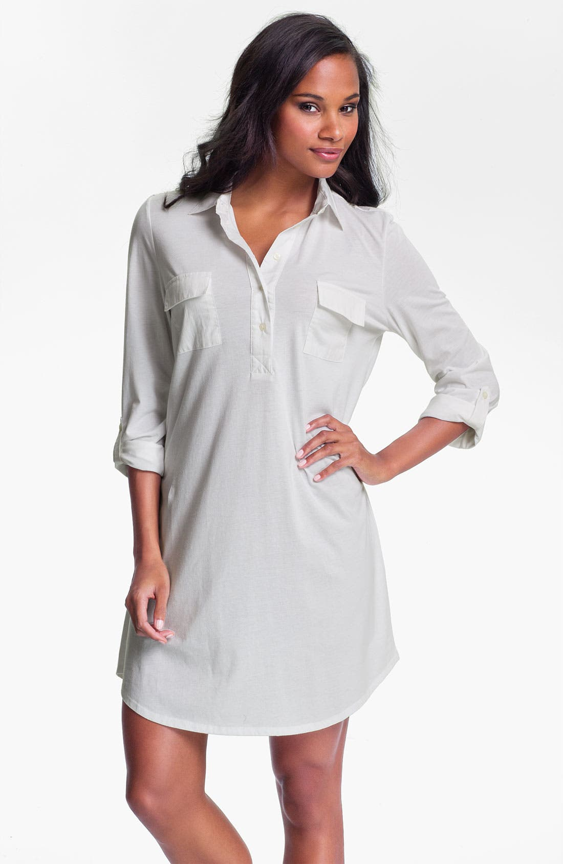 Alternate Image 1 Selected - Lauren Ralph Lauren Sleepwear Woven Trim Knit Nightshirt
