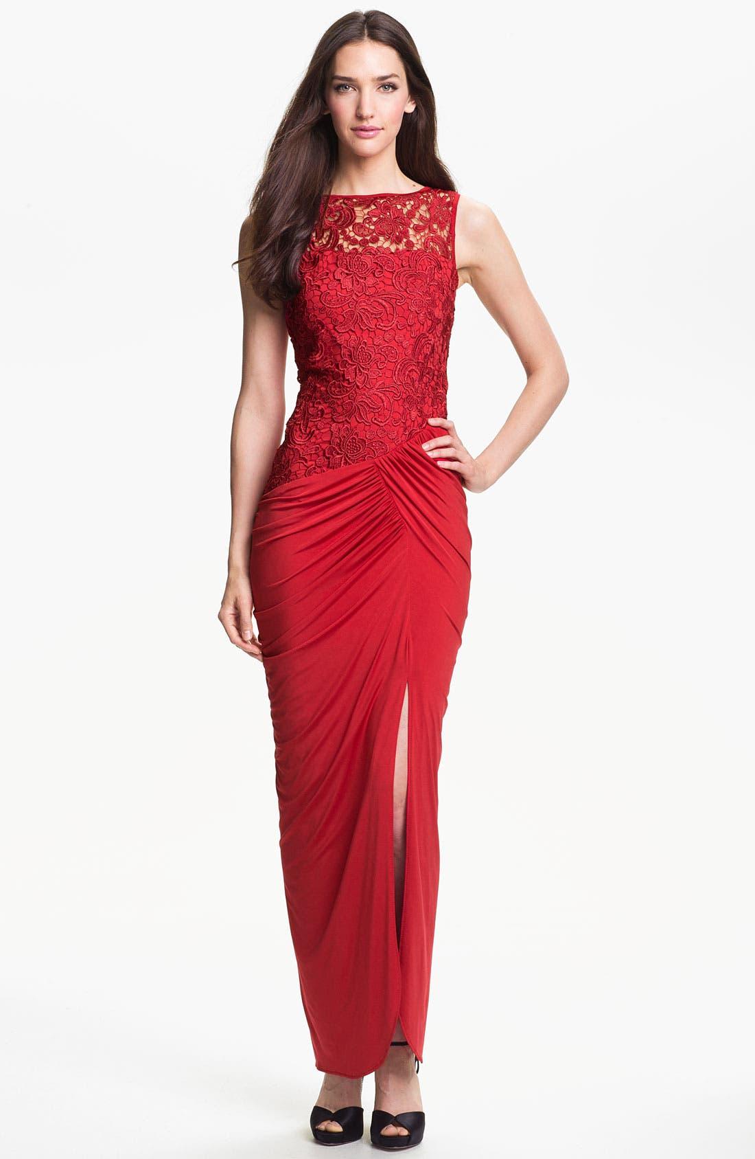 Main Image - Jessica McClintock Illusion Yoke Side Slit Jersey Gown