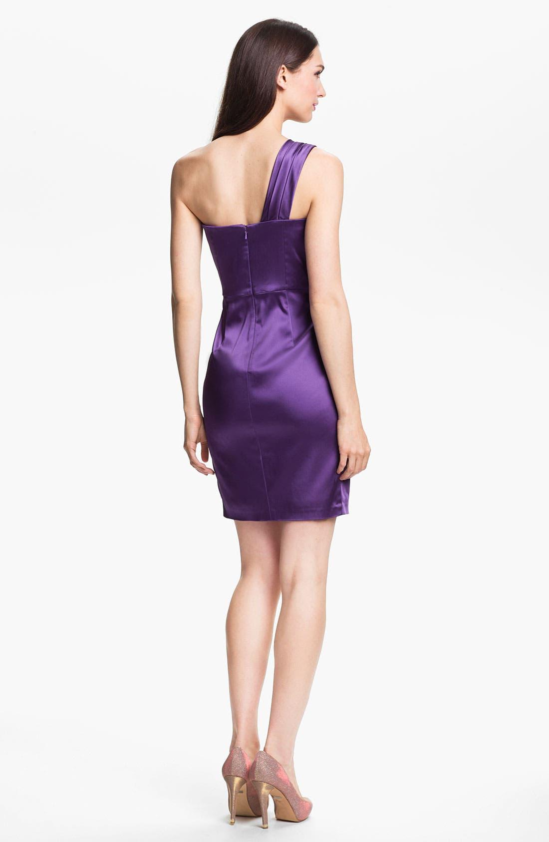 Alternate Image 2  - Jill Stuart One Shoulder Side Ruched Satin Sheath Dress