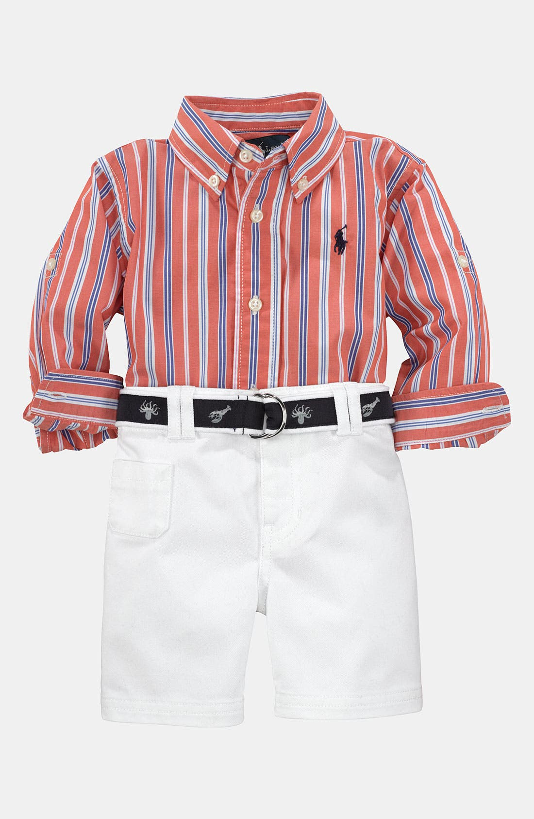 Alternate Image 1 Selected - Ralph Lauren Stripe Shirt & Shorts (Infant)