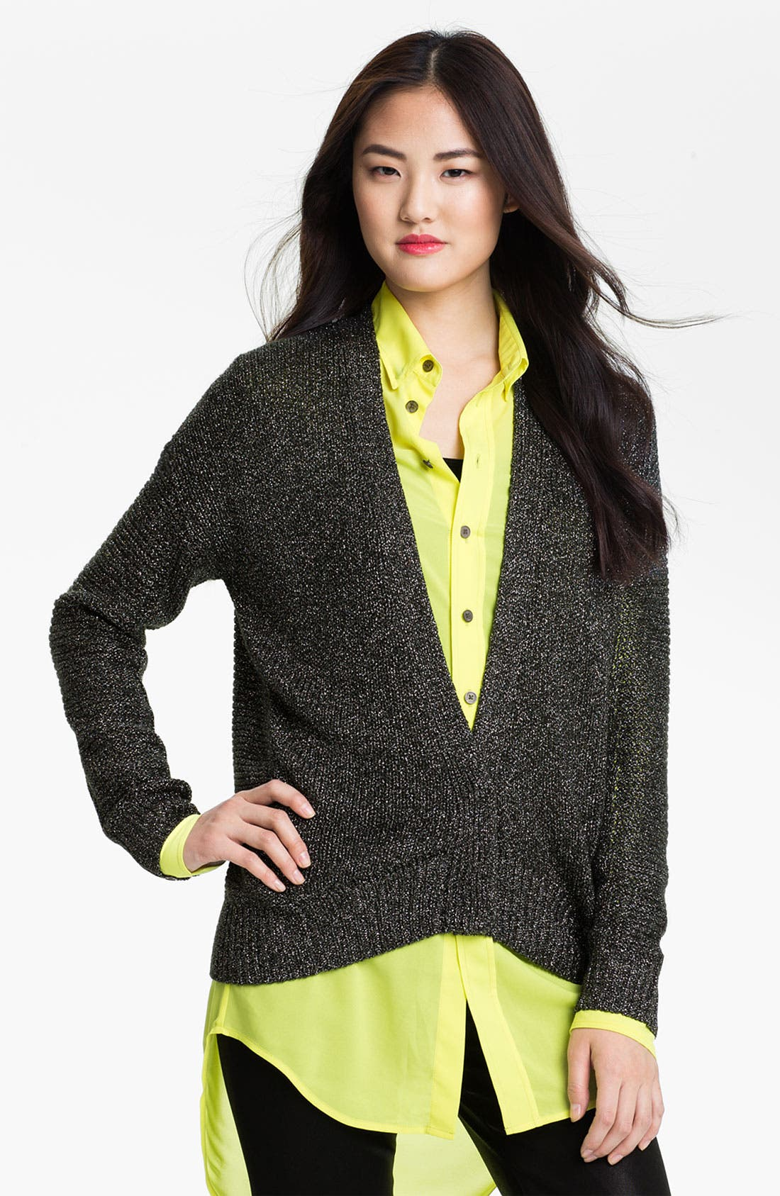Alternate Image 1 Selected - Two by Vince Camuto Drop Stitch V-Neck Cardigan