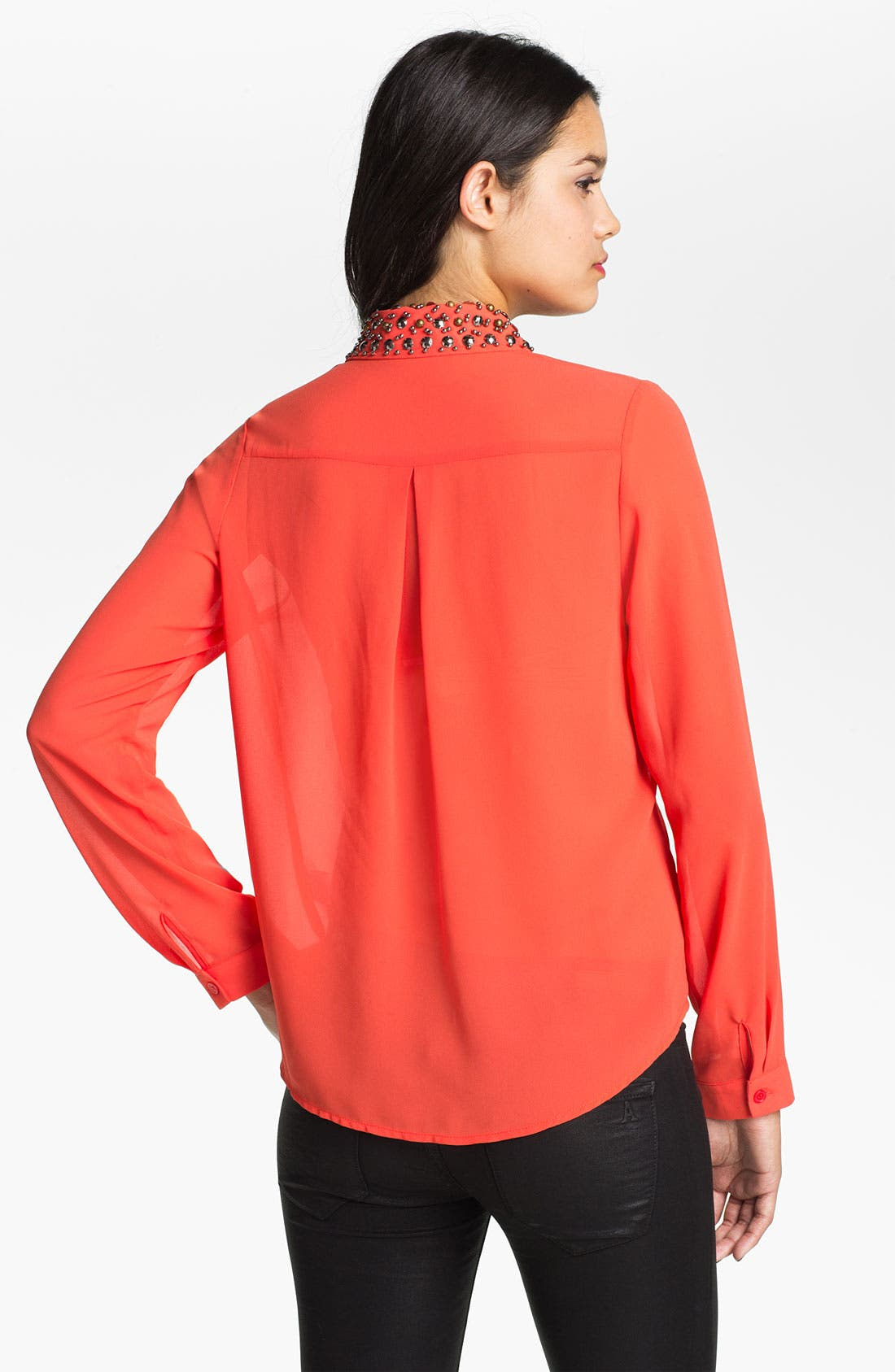 Alternate Image 2  - Lush Embellished Collar Shirt (Juniors)