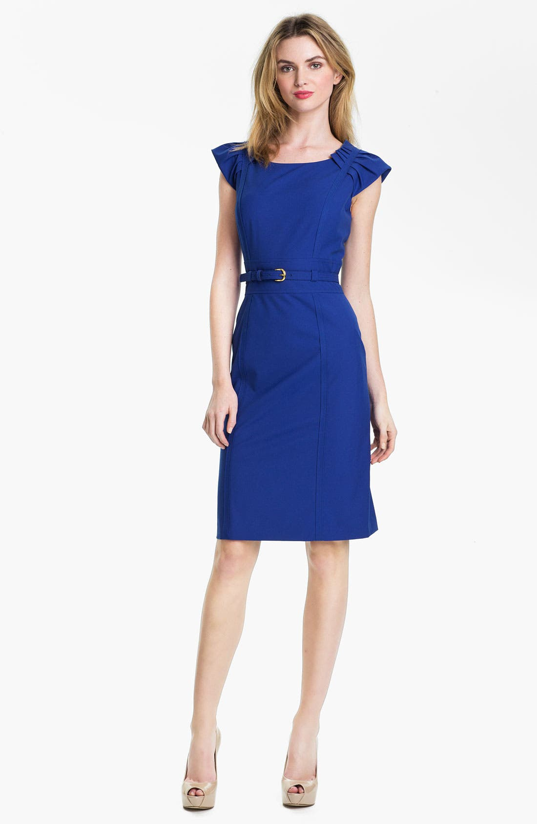 Alternate Image 1 Selected - Tahari Cap Sleeve Belted Sheath Dress (Petite)