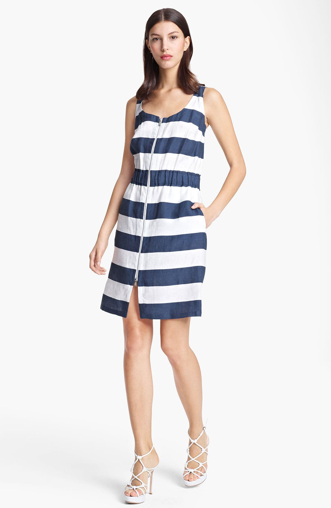 Main Image - Armani Collezioni Stripe Zip Front Dress