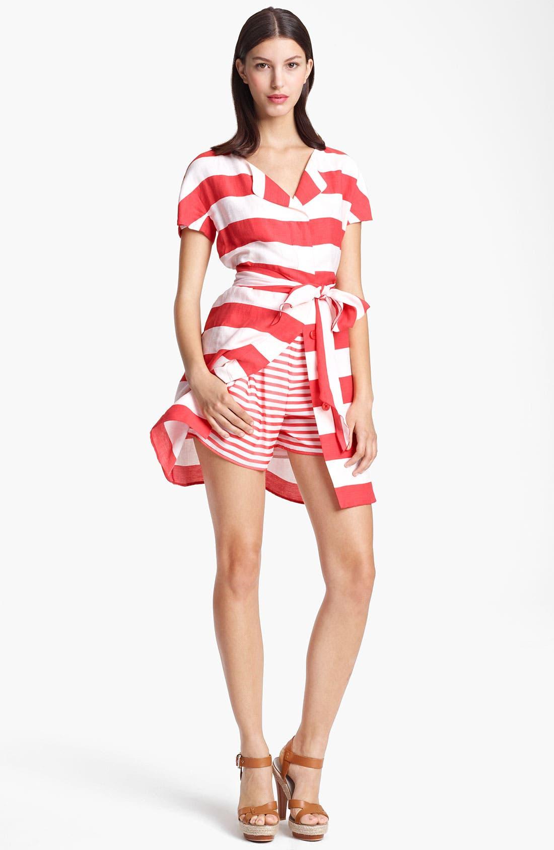 Main Image - Armani Collezioni Belted Stripe Linen Blend Dress