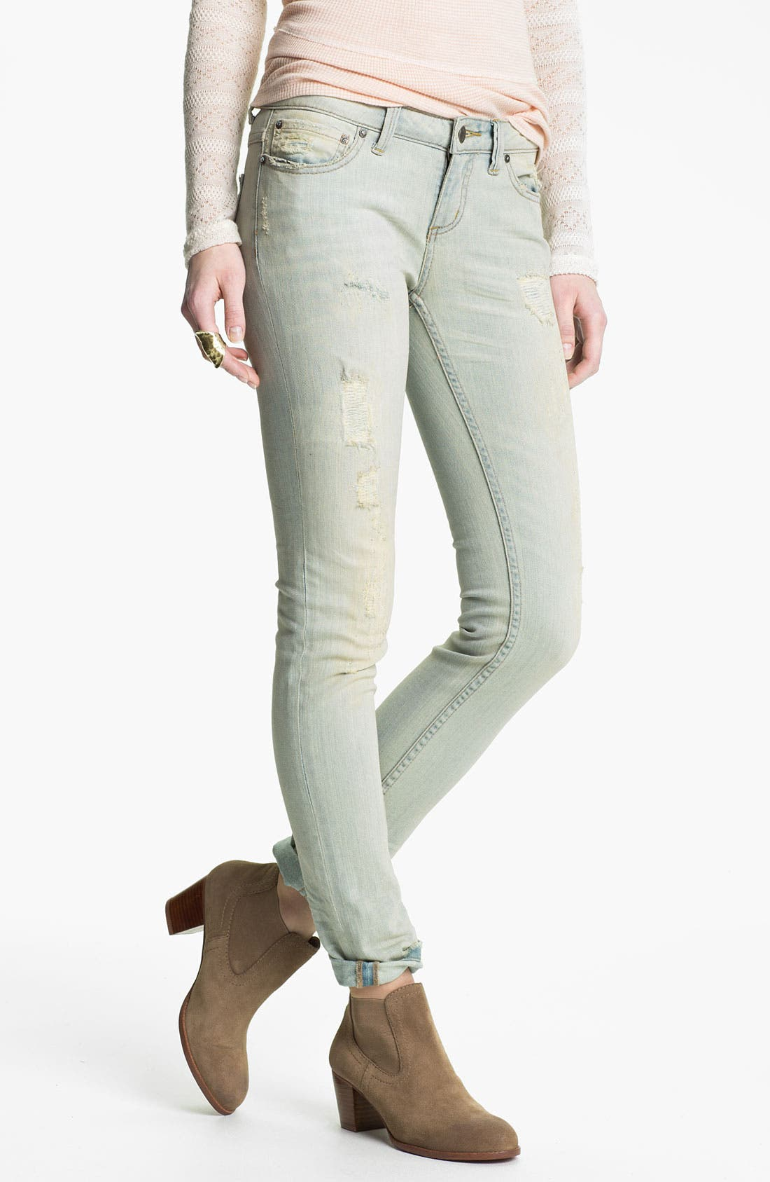 Alternate Image 1 Selected - Free People Destroyed Skinny Stretch Jeans (Palm Indigo)