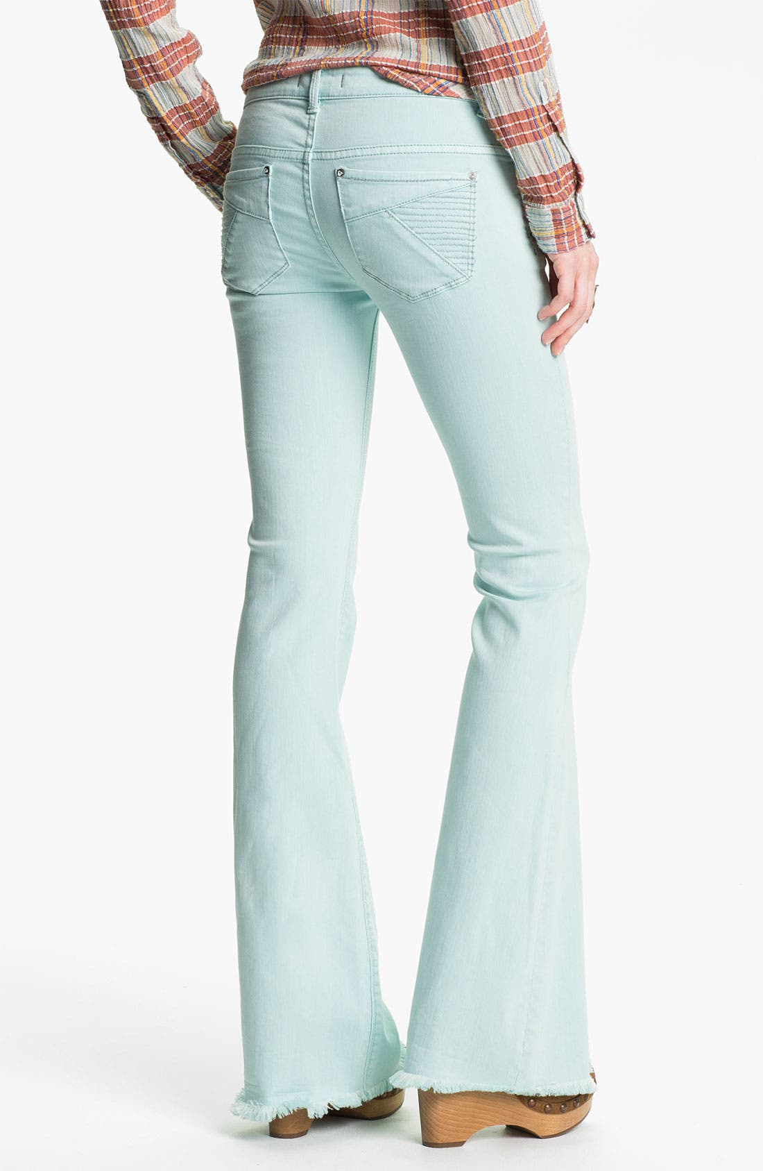 Alternate Image 2  - Free People 'Millennium' Colored Denim Bootcut Jeans (Pale Blue)