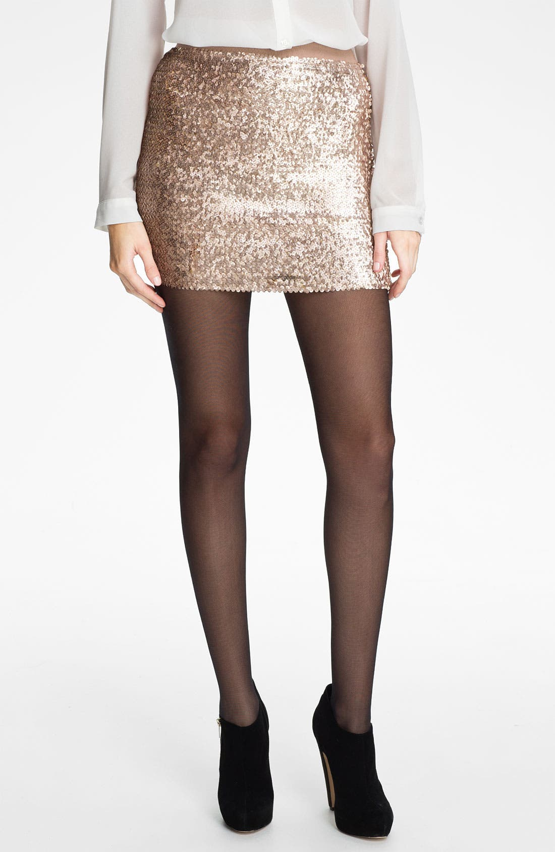 Main Image - Lily White Sequin Miniskirt (Juniors)