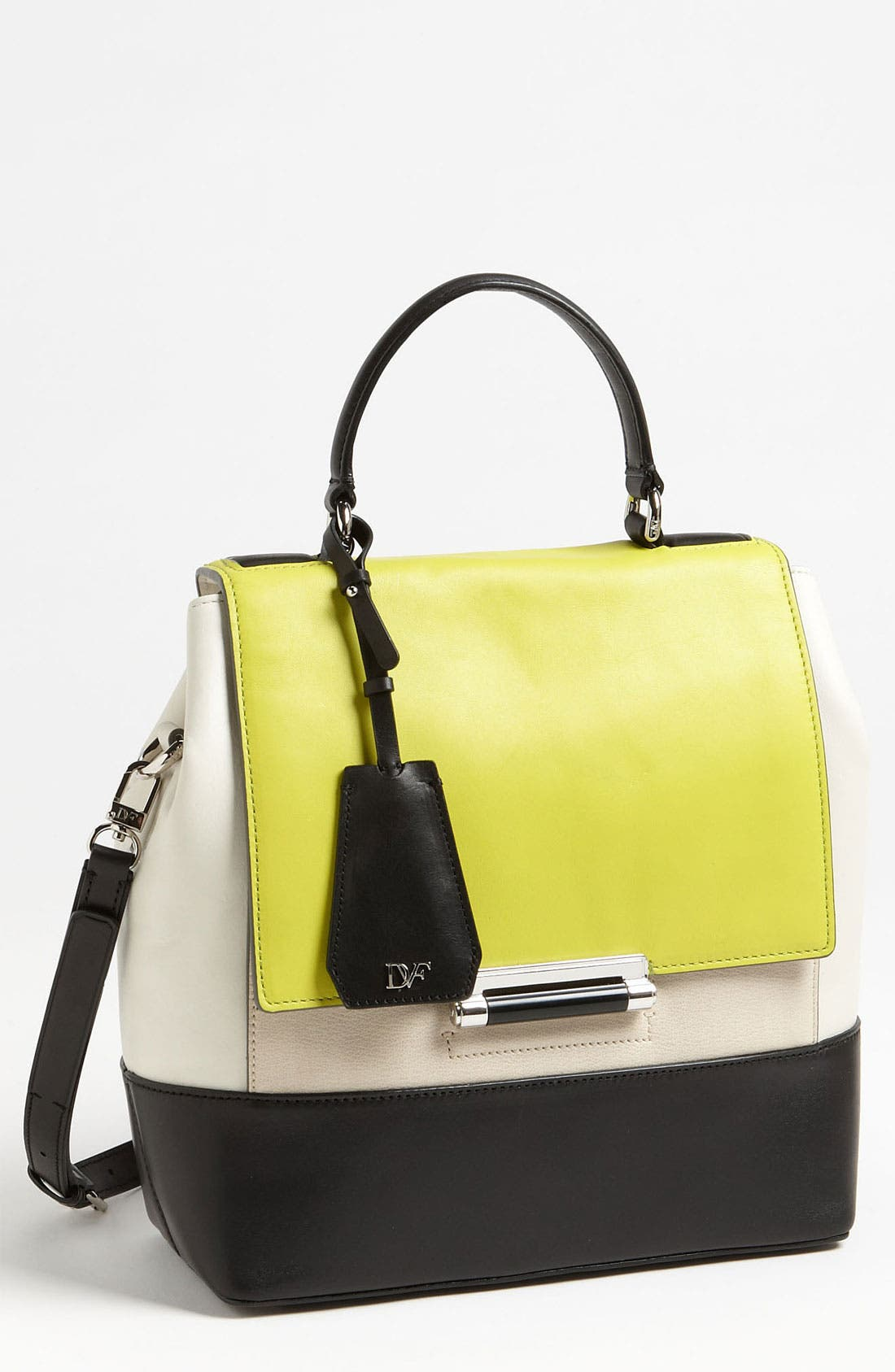 Alternate Image 1 Selected - Diane von Furstenberg '440 Top Handle - Small' Colorblock Satchel