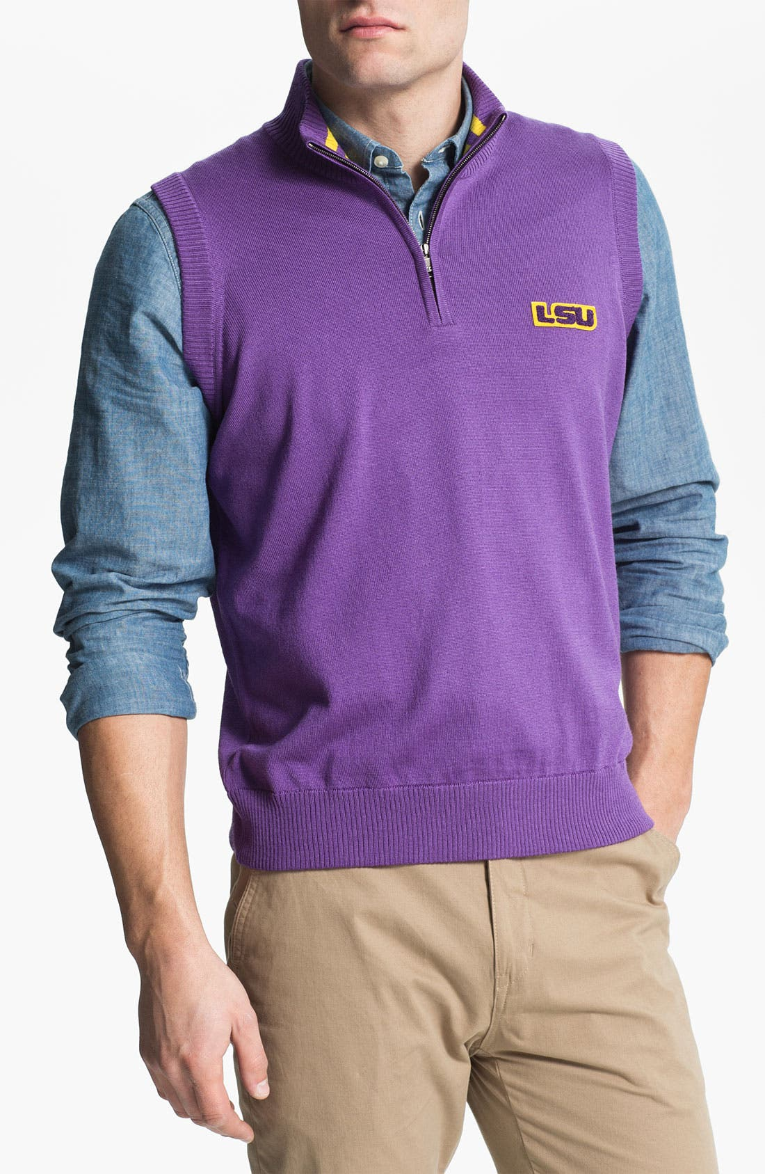 Main Image - Thomas Dean 'Louisiana State University' Quarter Zip Sweater Vest