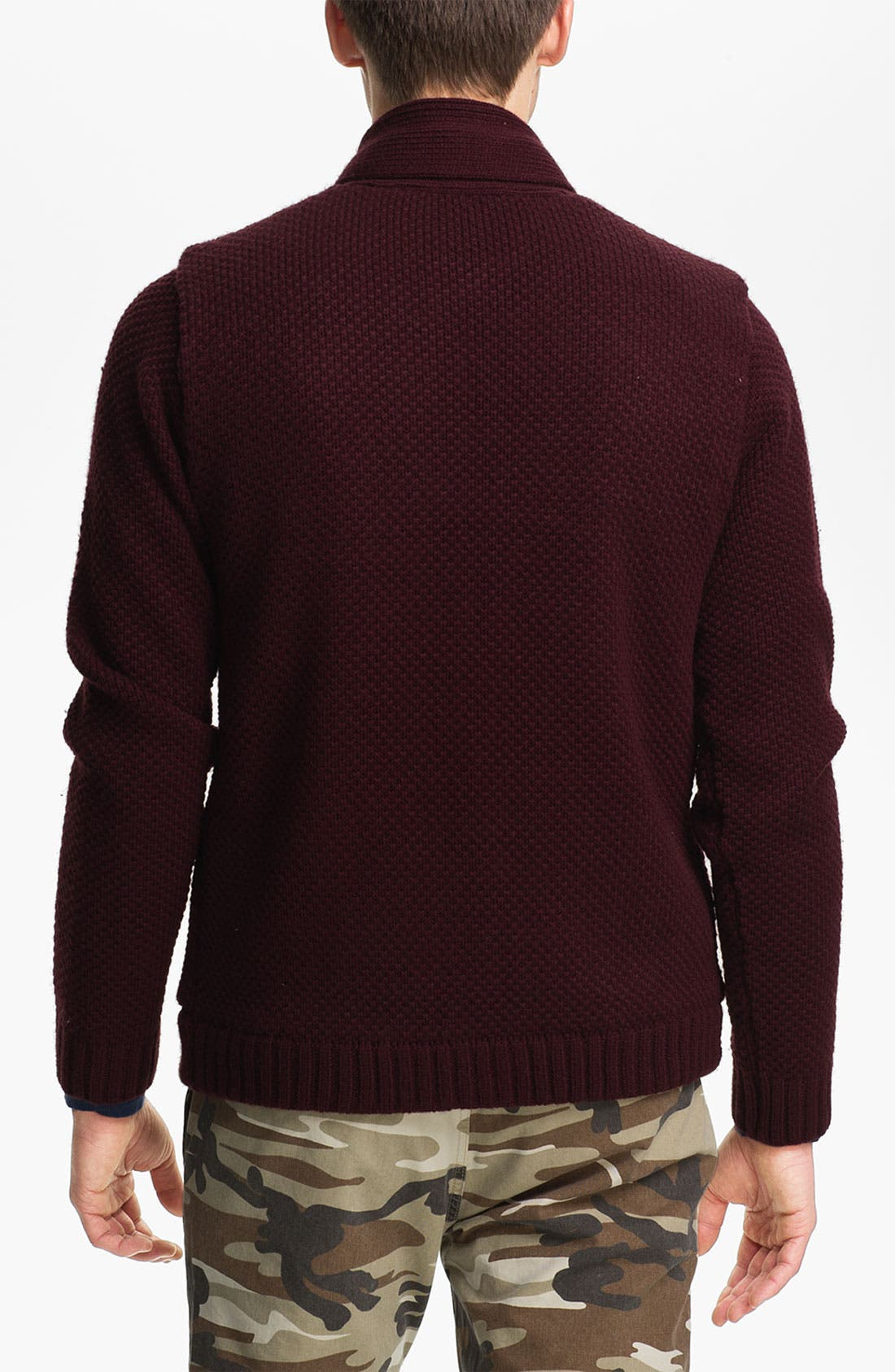 Alternate Image 2  - Topman Lined Cable Knit Shawl Collar Sweater