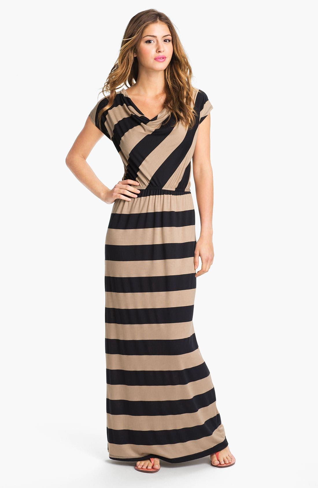 Main Image - Bobeau Drape Neck Stripe Maxi Dress
