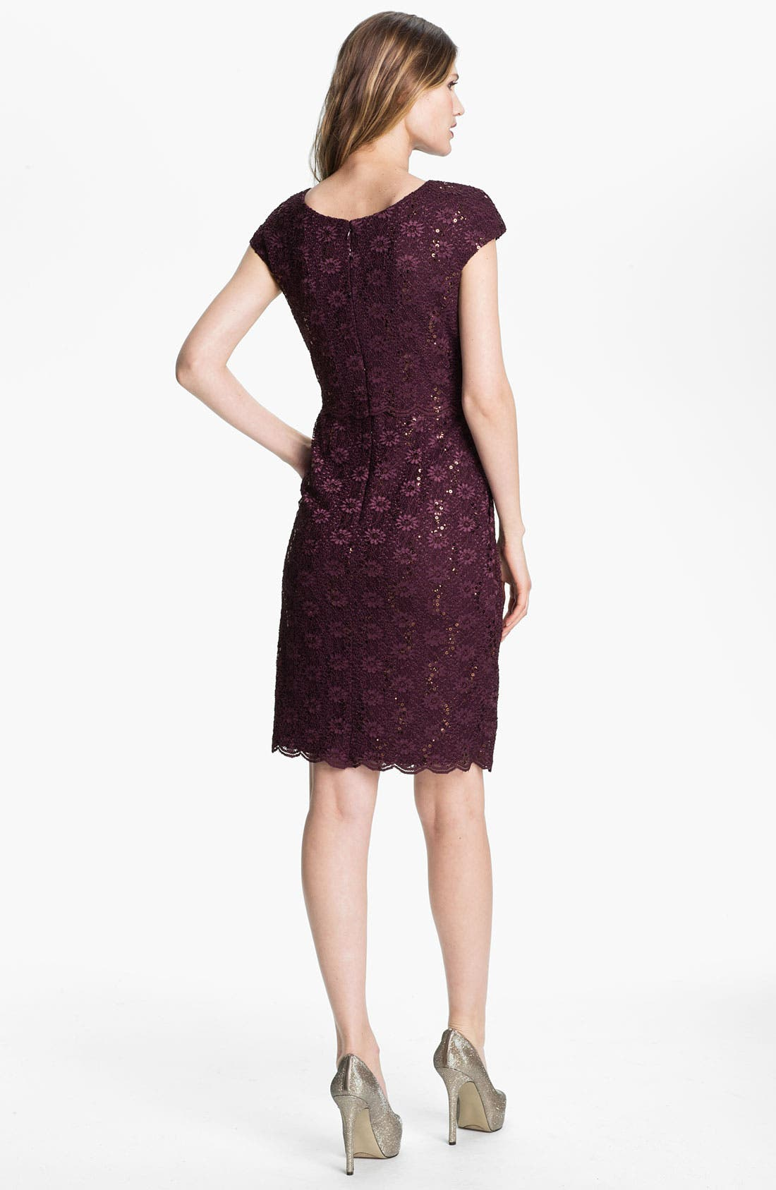 Alternate Image 2  - Alex Evenings Sequin Lace Overlay Sheath Dress (Petite)