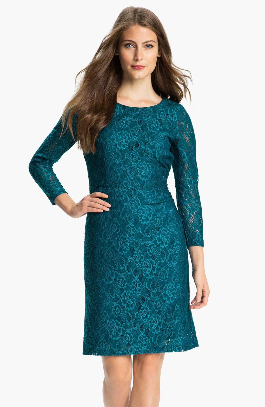 Alternate Image 1 Selected - Tahari Stretch Lace Dress (Petite)