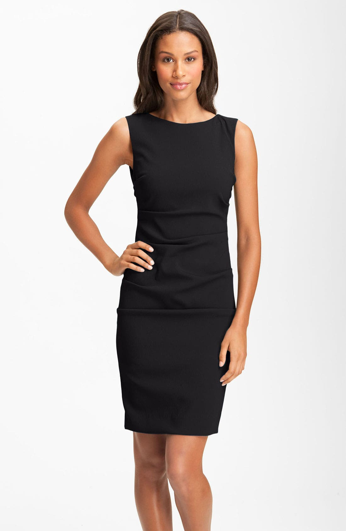 Main Image - Nicole Miller Sleeveless Ruched Crepe Sheath Dress