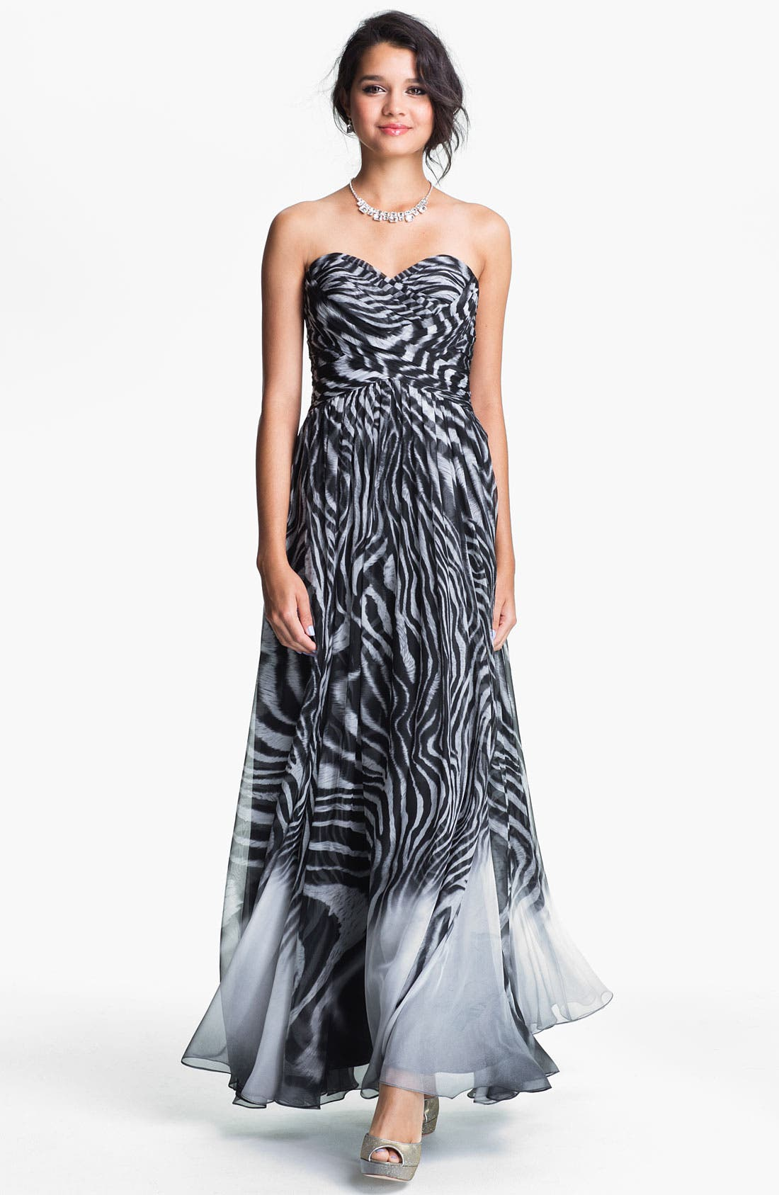 Alternate Image 1 Selected - La Femme Print Strapless Chiffon Gown