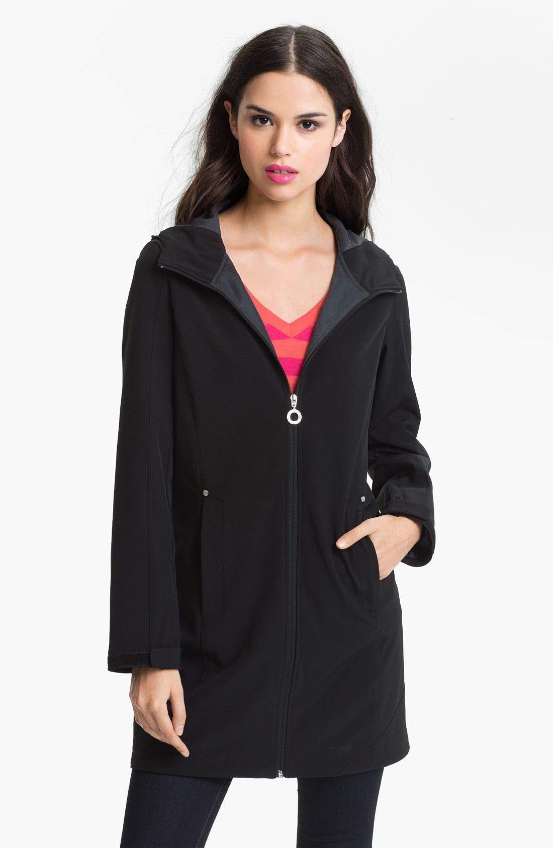 Main Image - Calvin Klein Hooded Softshell Coat (Online Only)