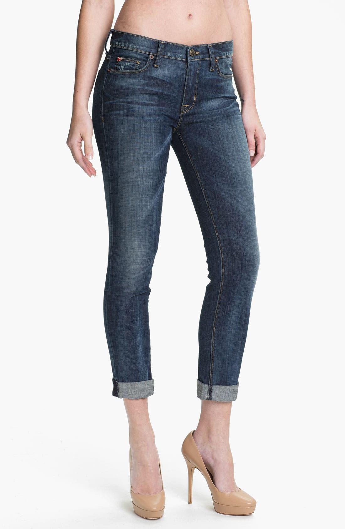 Main Image - Hudson Jeans 'Tilda' Cuffed Straight Leg Stretch Jeans (Blue)