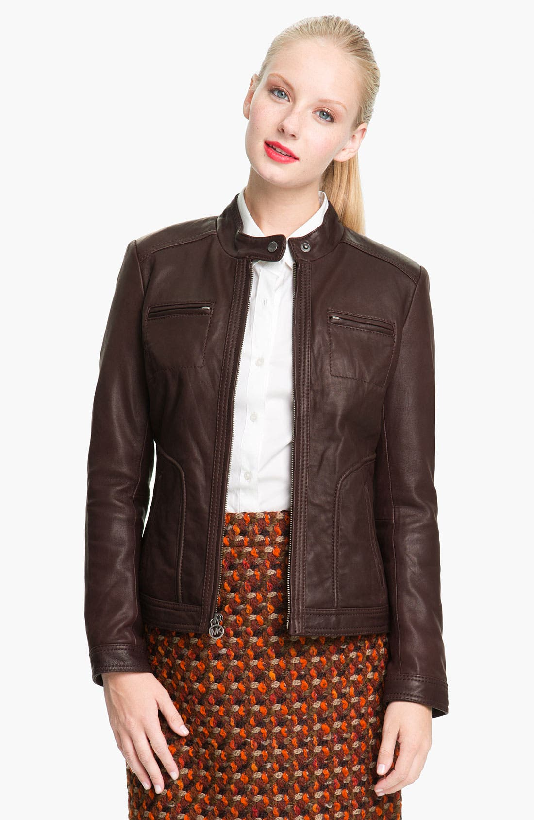 Alternate Image 1 Selected - MICHAEL Michael Kors Leather Scuba Jacket (Petite)