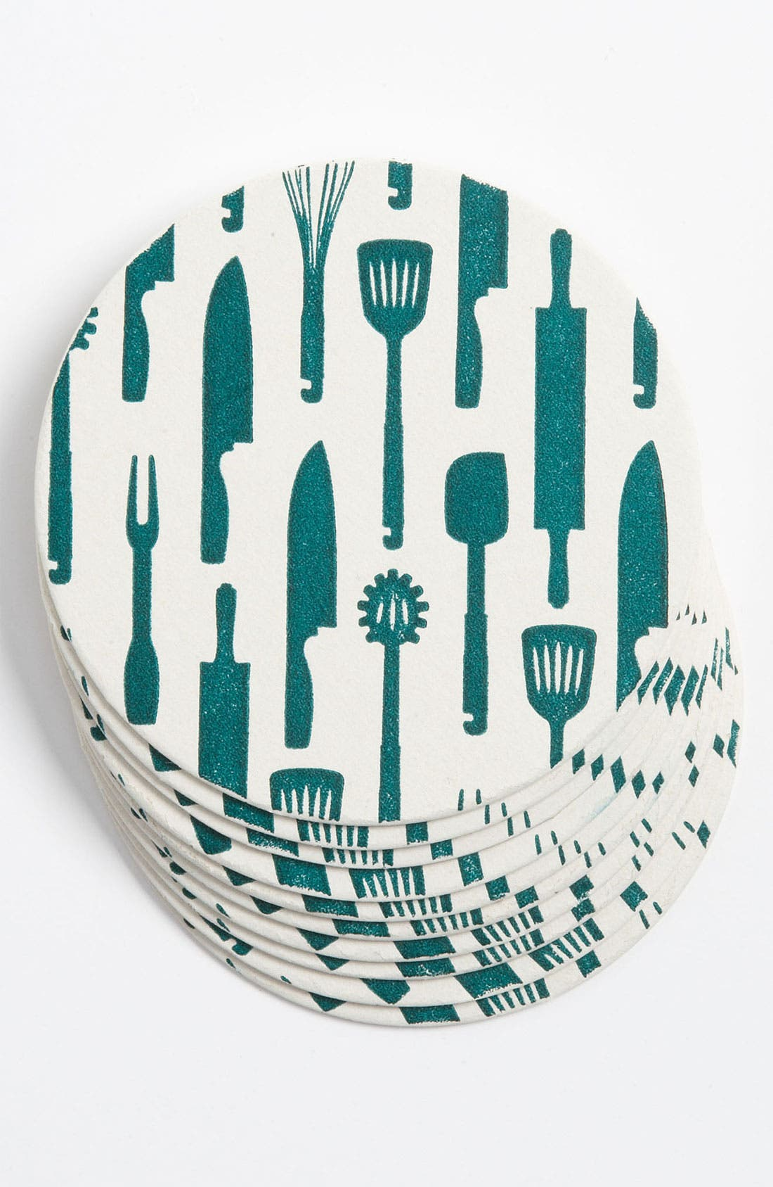 Alternate Image 1 Selected - 'Kitchen Utensils' Letterpress Coasters (Set of 10)
