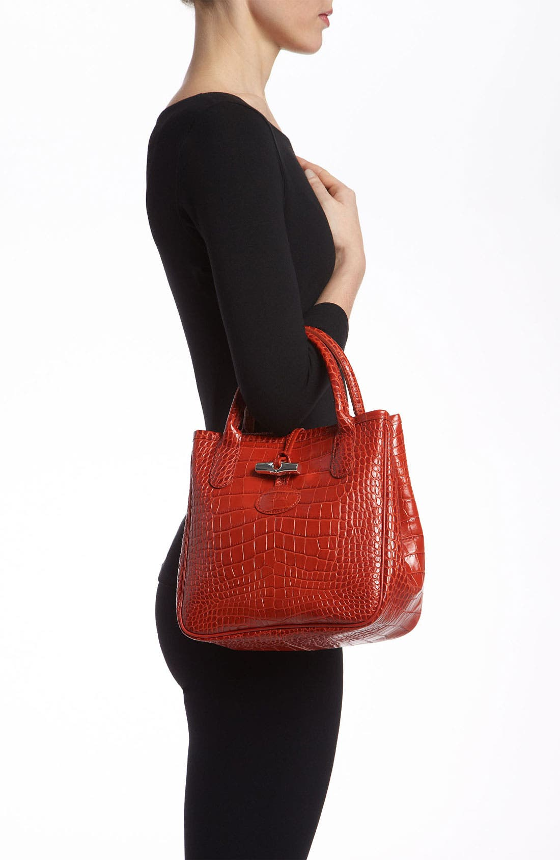 Alternate Image 2  - Longchamp 'Roseau' Croc Embossed Tote
