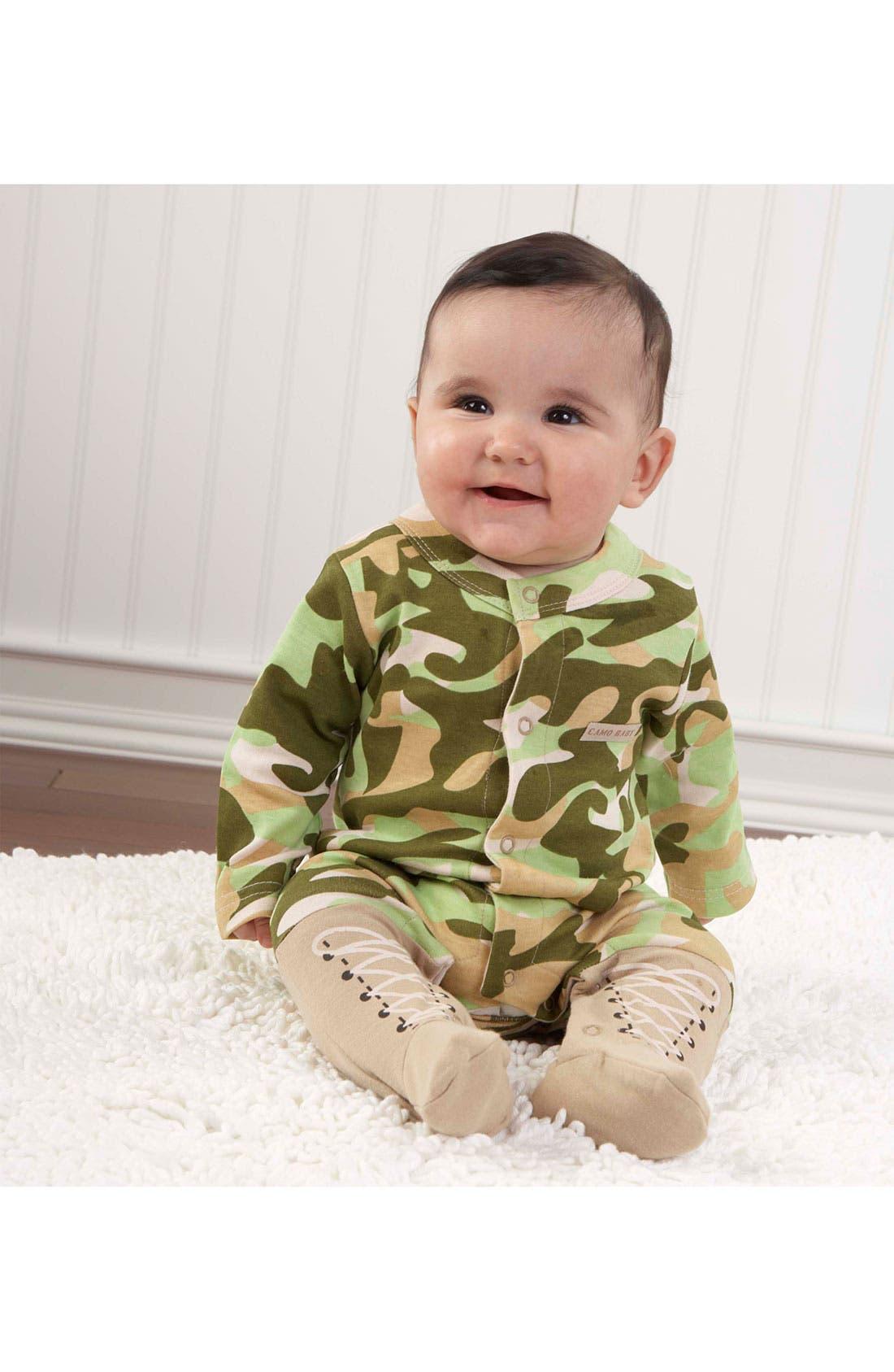 Alternate Image 1 Selected - Baby Aspen 'Baby Camo' Footie & Hat (Baby)