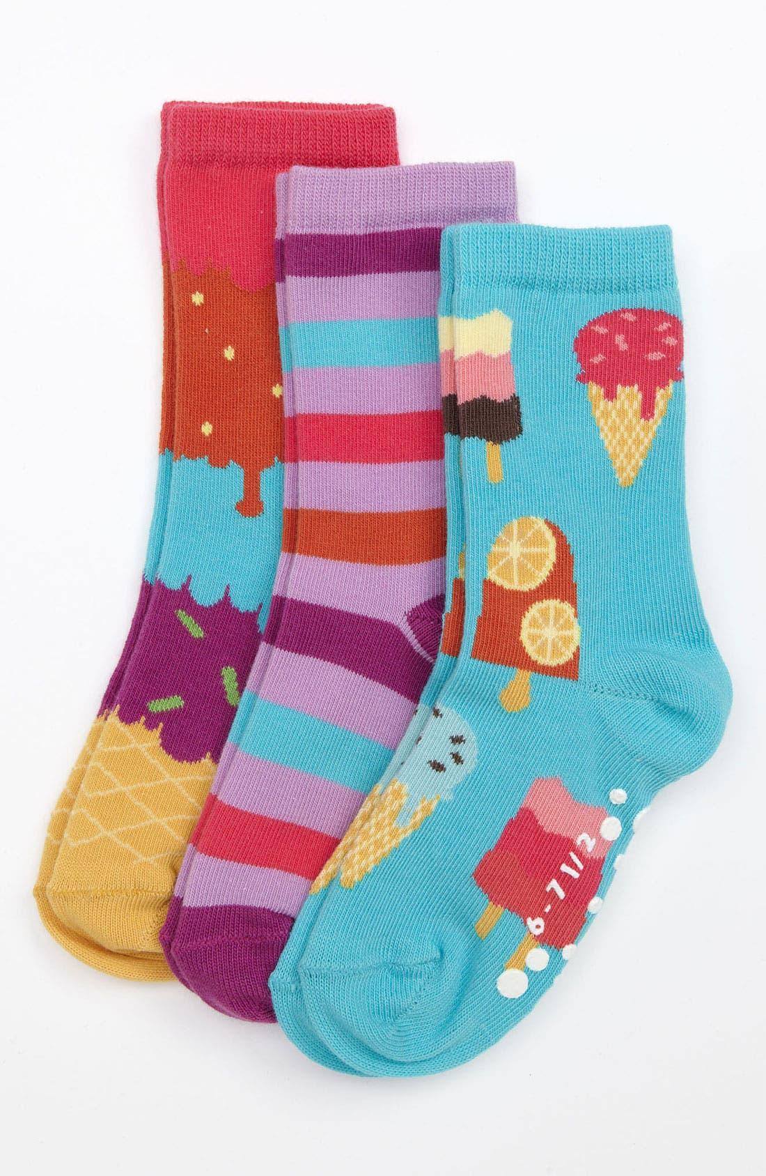 Alternate Image 1 Selected - Nordstrom 'Ice Cream Social' Socks (3-Pack) (Toddler & Little Girls)