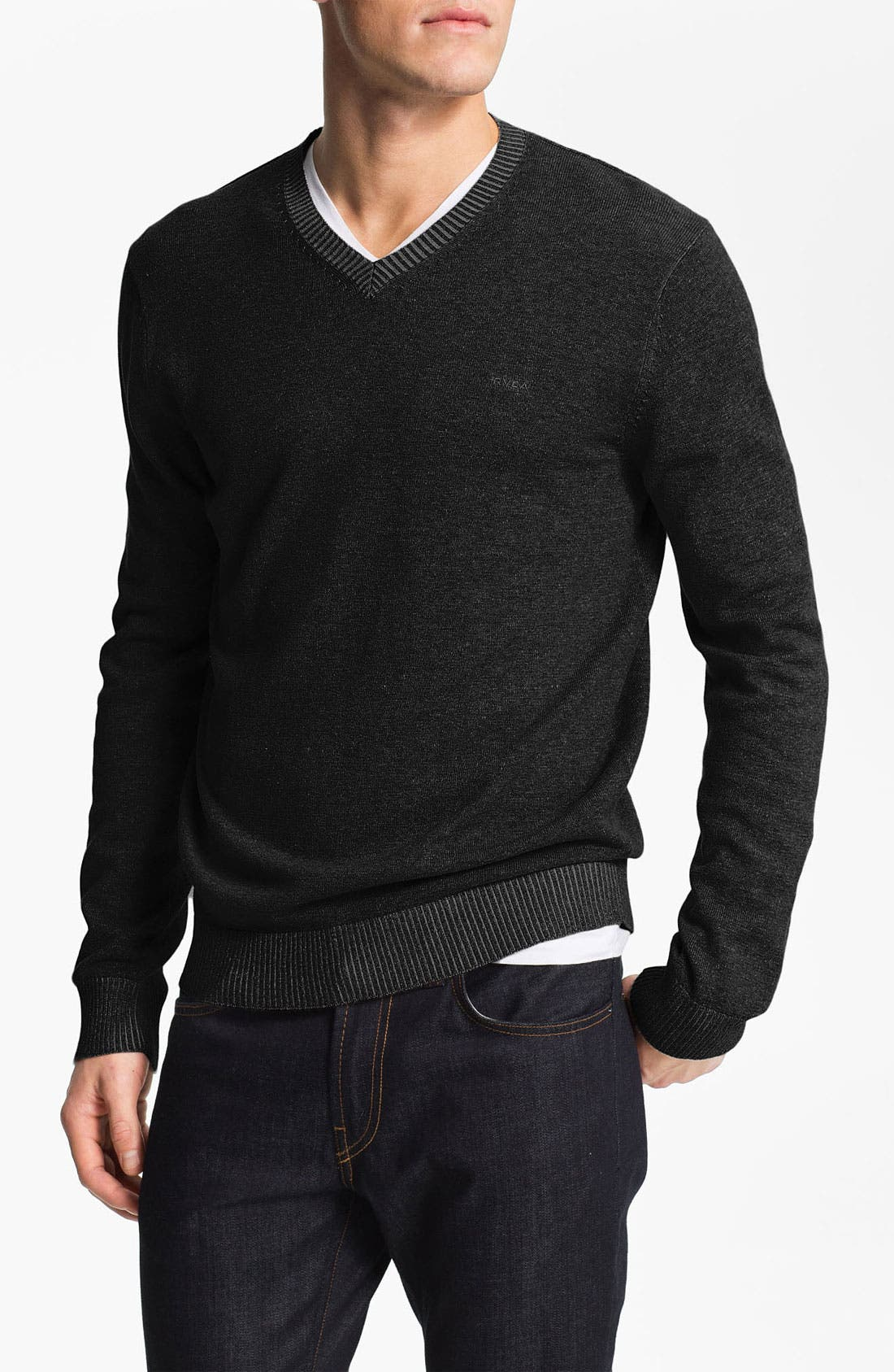 Alternate Image 1 Selected - RVCA Plaited V-Neck Sweater