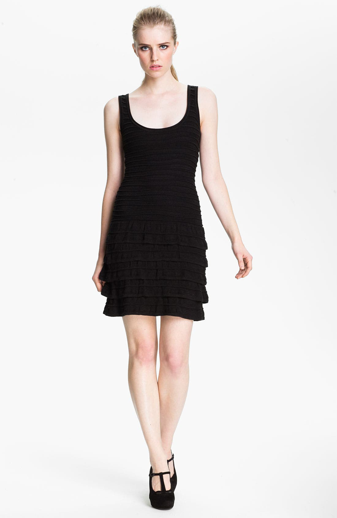 Alternate Image 1 Selected - Cut25 Cable Knit Ruffle Tank Dress