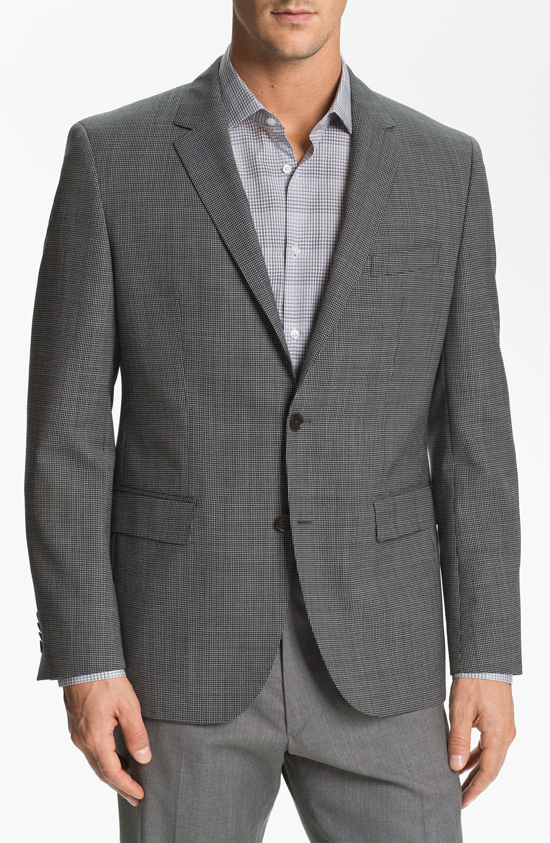 Main Image - BOSS Black 'Keys' Trim Fit Check Sportcoat