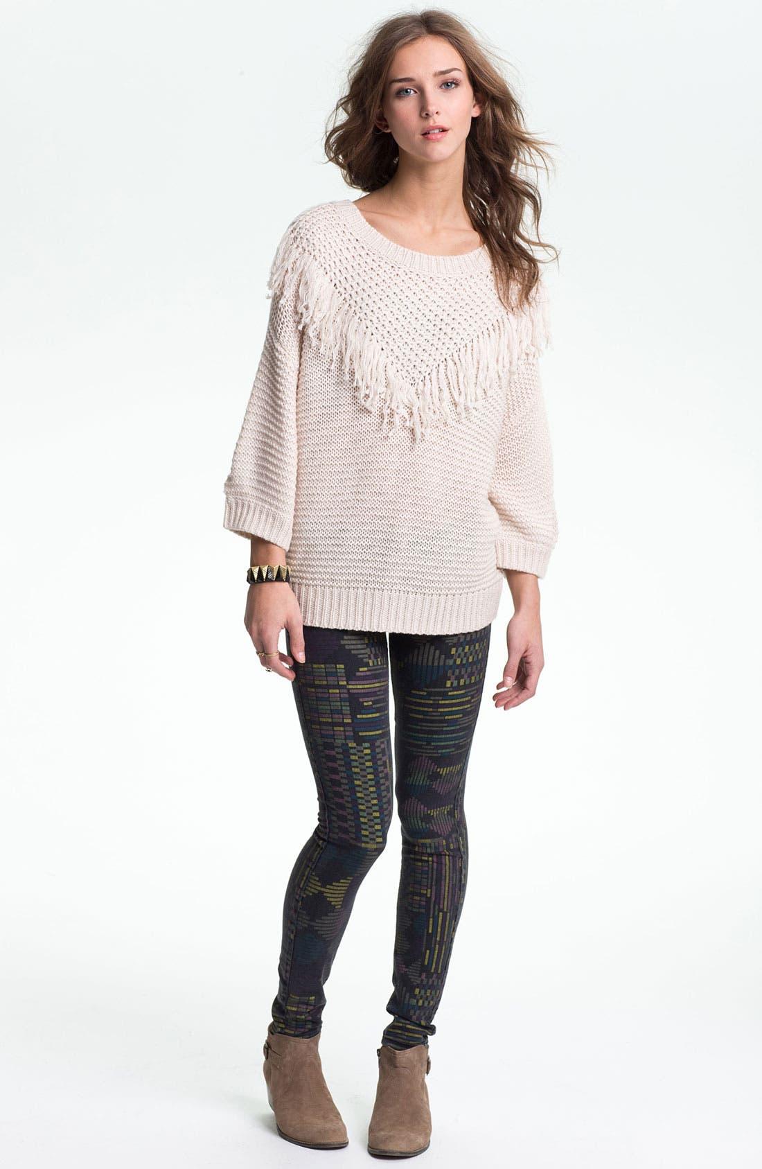Alternate Image 4  - Rubbish® Fringed Slouchy Sweater (Juniors)
