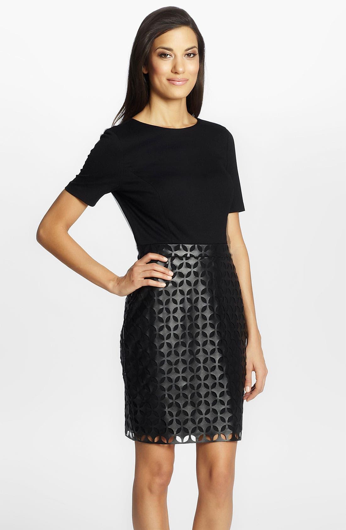 Alternate Image 1 Selected - Cynthia Steffe 'Amelia' Laser Cut Leather Dress