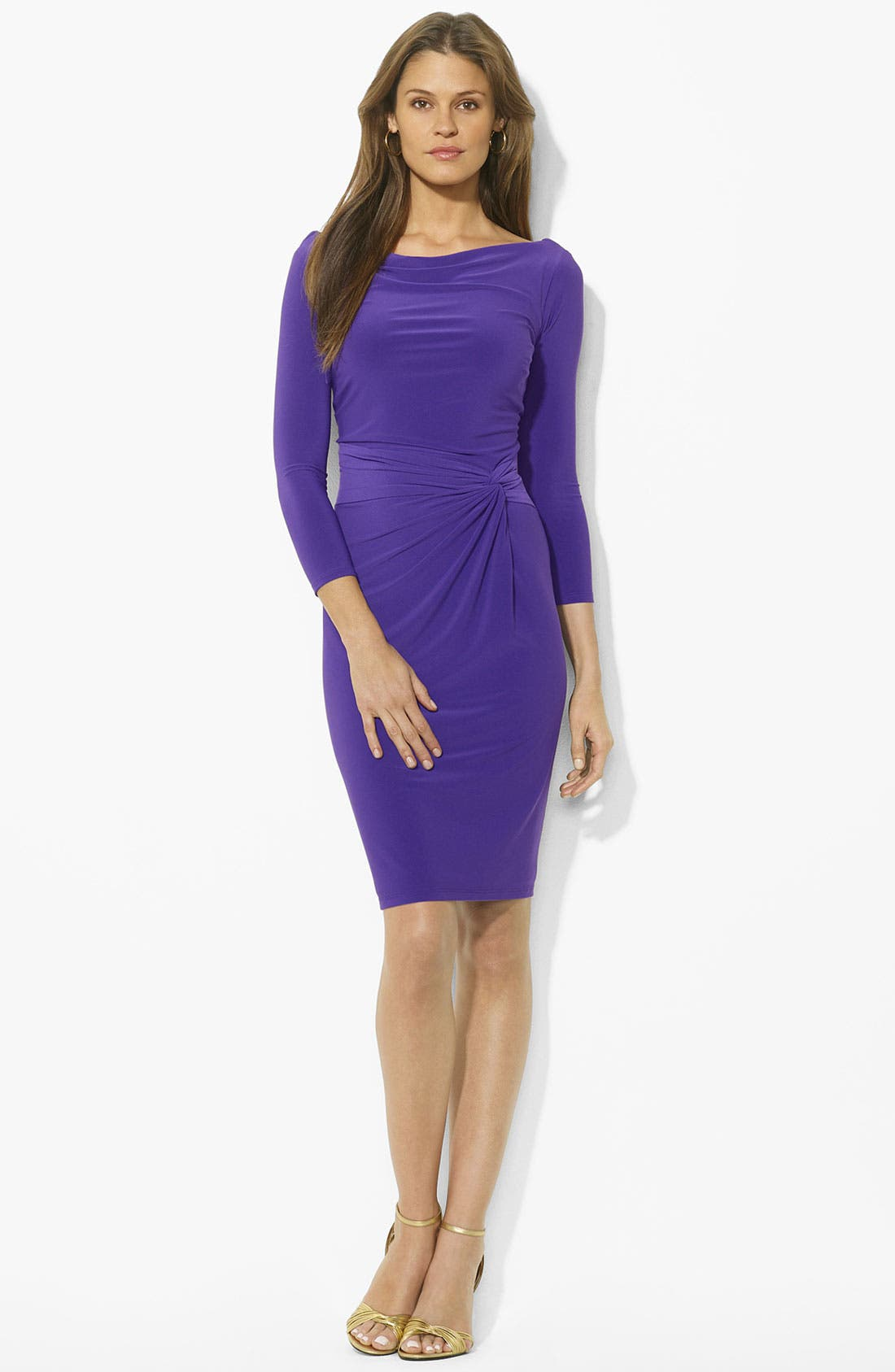 Alternate Image 1 Selected - Lauren Ralph Lauren Twist Front Jersey Sheath Dress