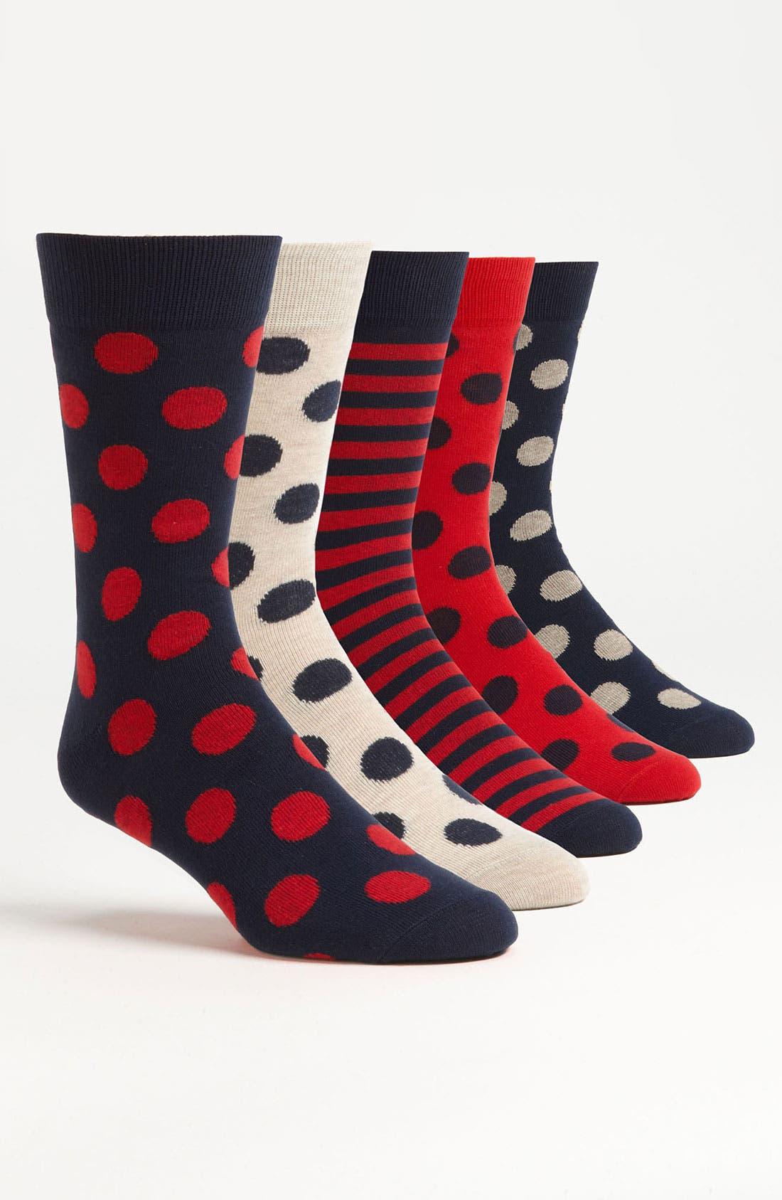 Main Image - Topman Spot Pattern Socks (5-Pack)