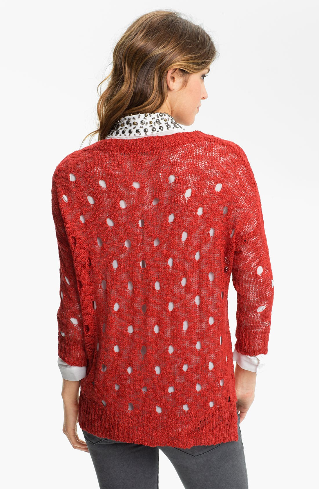 Alternate Image 2  - Chloe K Distress Knit Slouchy Sweater (Juniors)