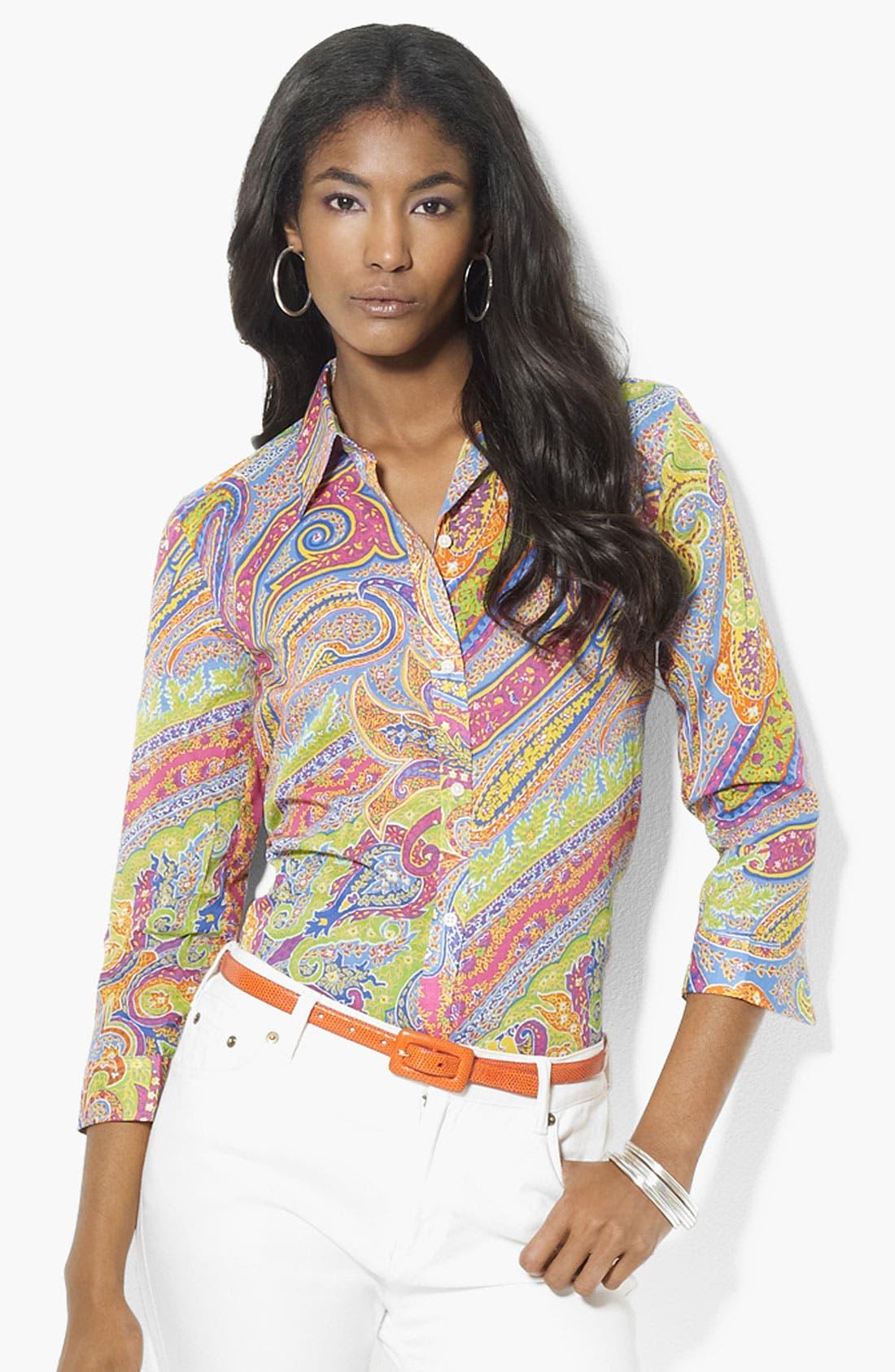 Alternate Image 1 Selected - Lauren Ralph Lauren Three Quarter Sleeve Shirt (Petite) (Online Exclusive)