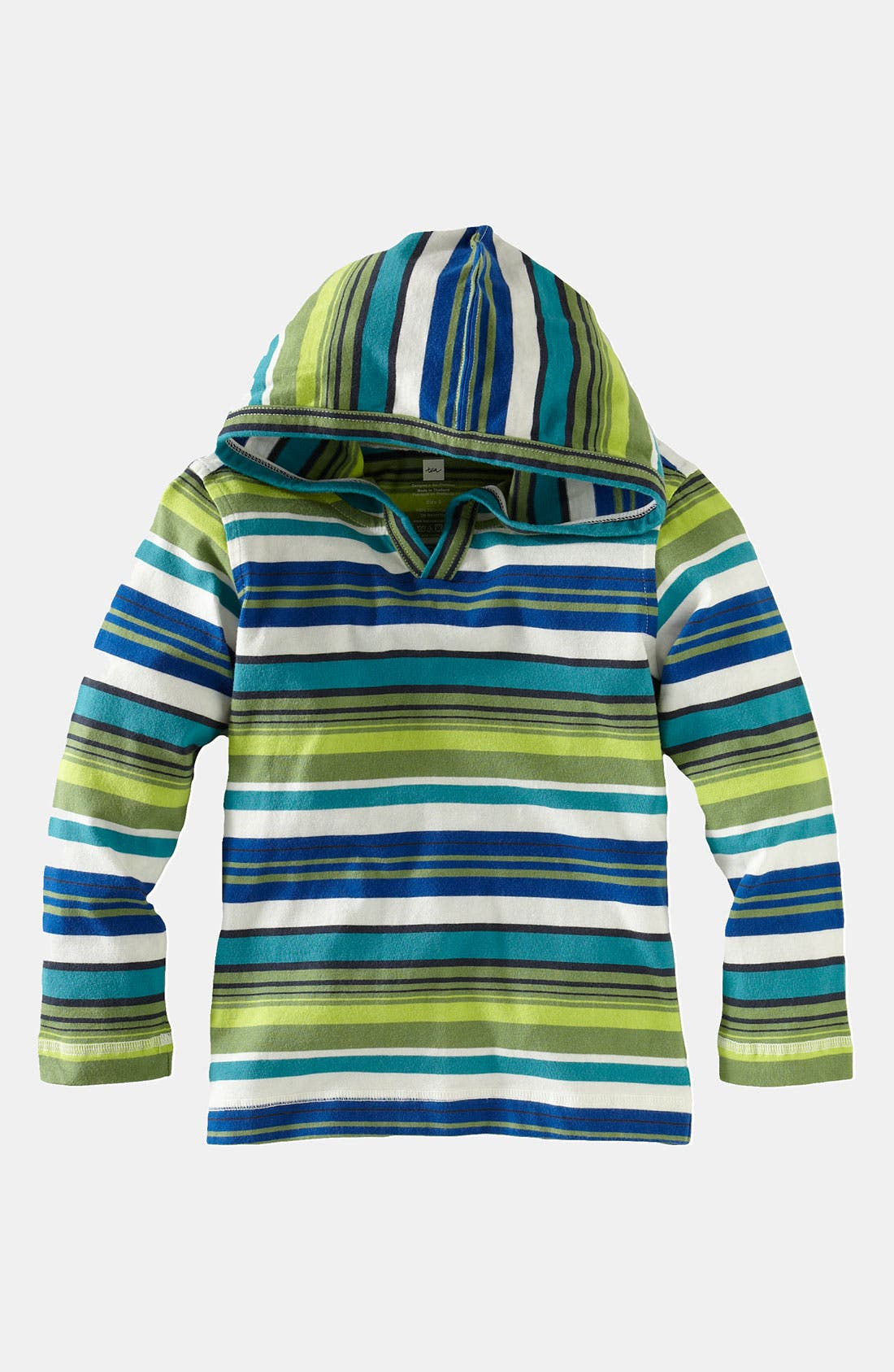 Main Image - Tea Collection 'Happy Stripe' Hoodie (Infant)
