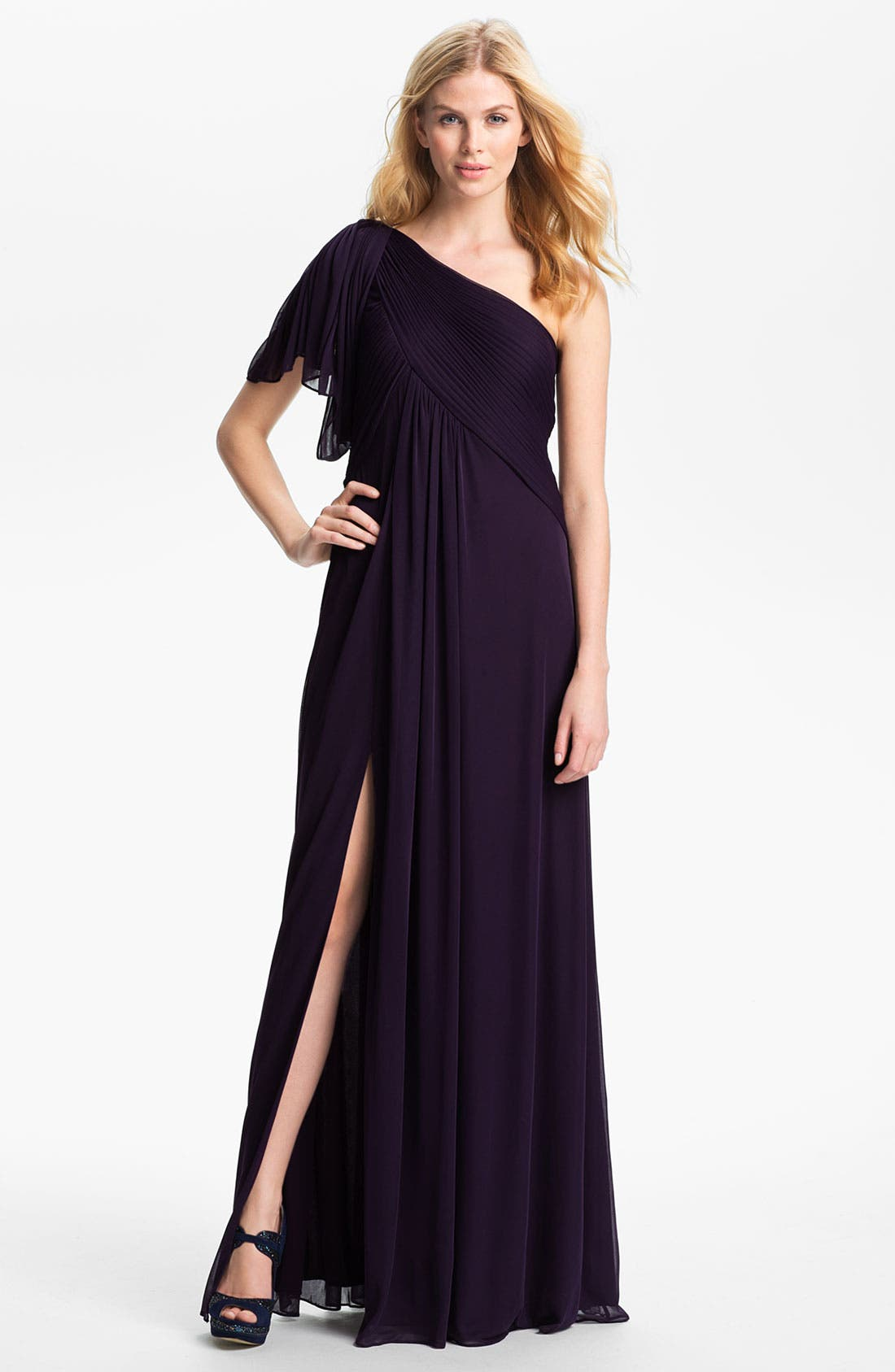 Alternate Image 1 Selected - Adrianna Papell Pleated One Shoulder Grecian Gown (Petite)