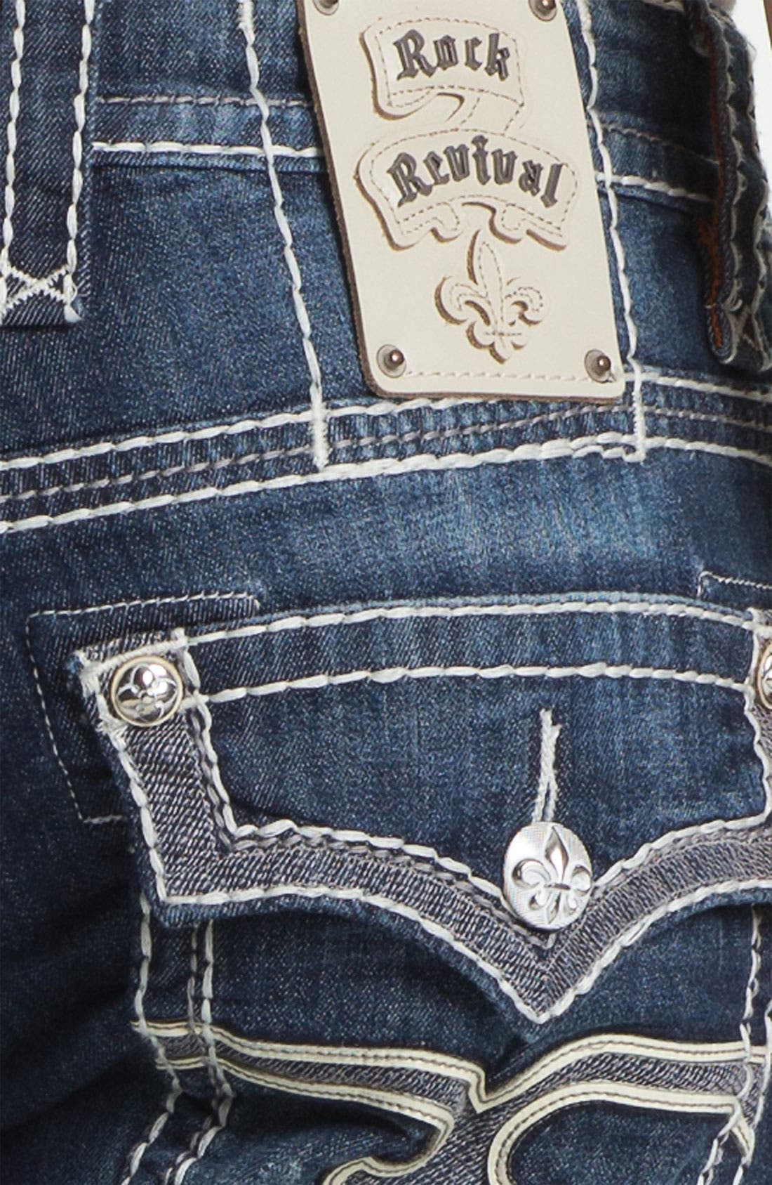 Alternate Image 4  - Rock Revival 'Rocky' Straight Leg Jeans (Medium Blue)